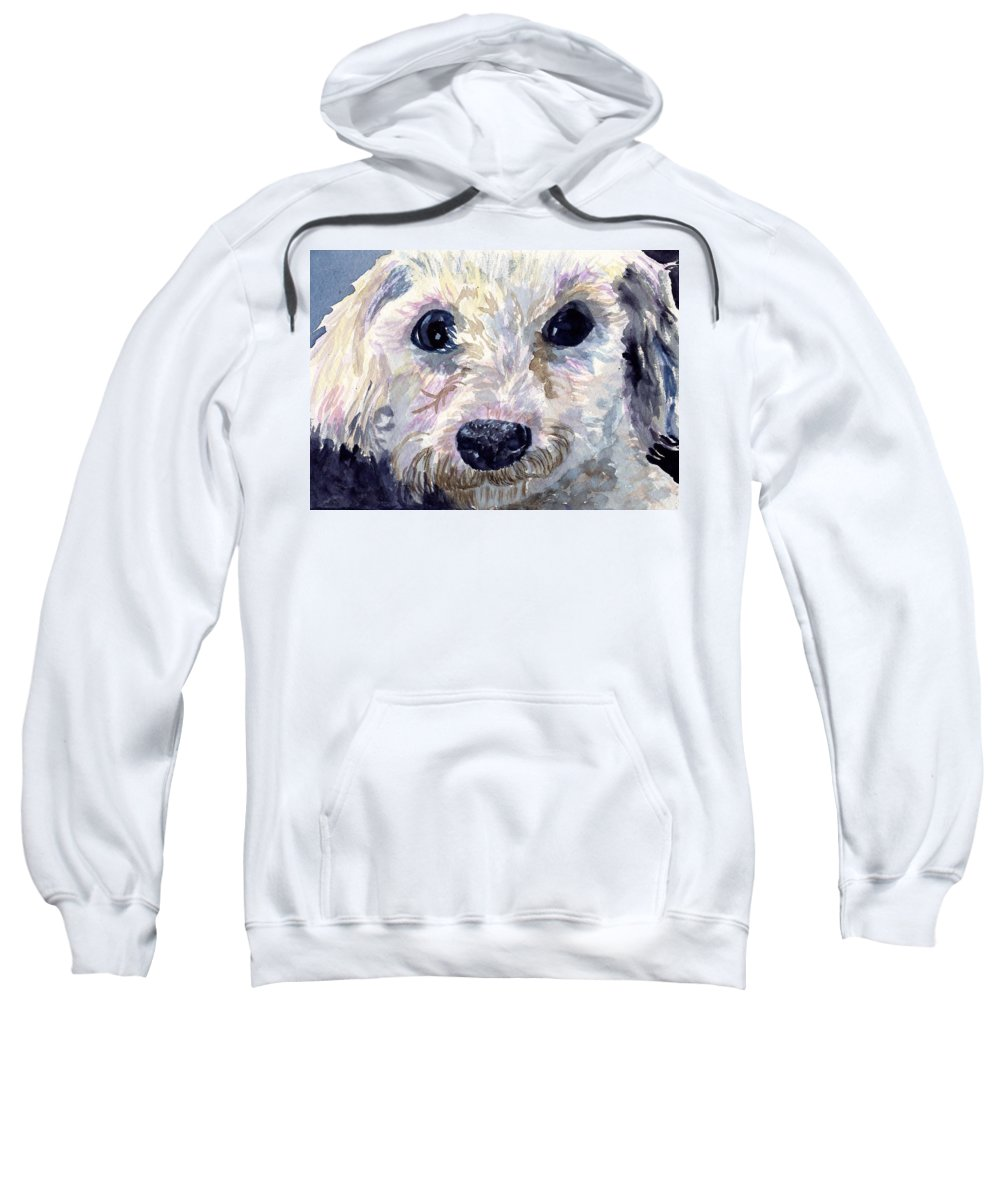Bichon Frise Sweatshirt featuring the painting Did You Say Lunch by Sharon E Allen
