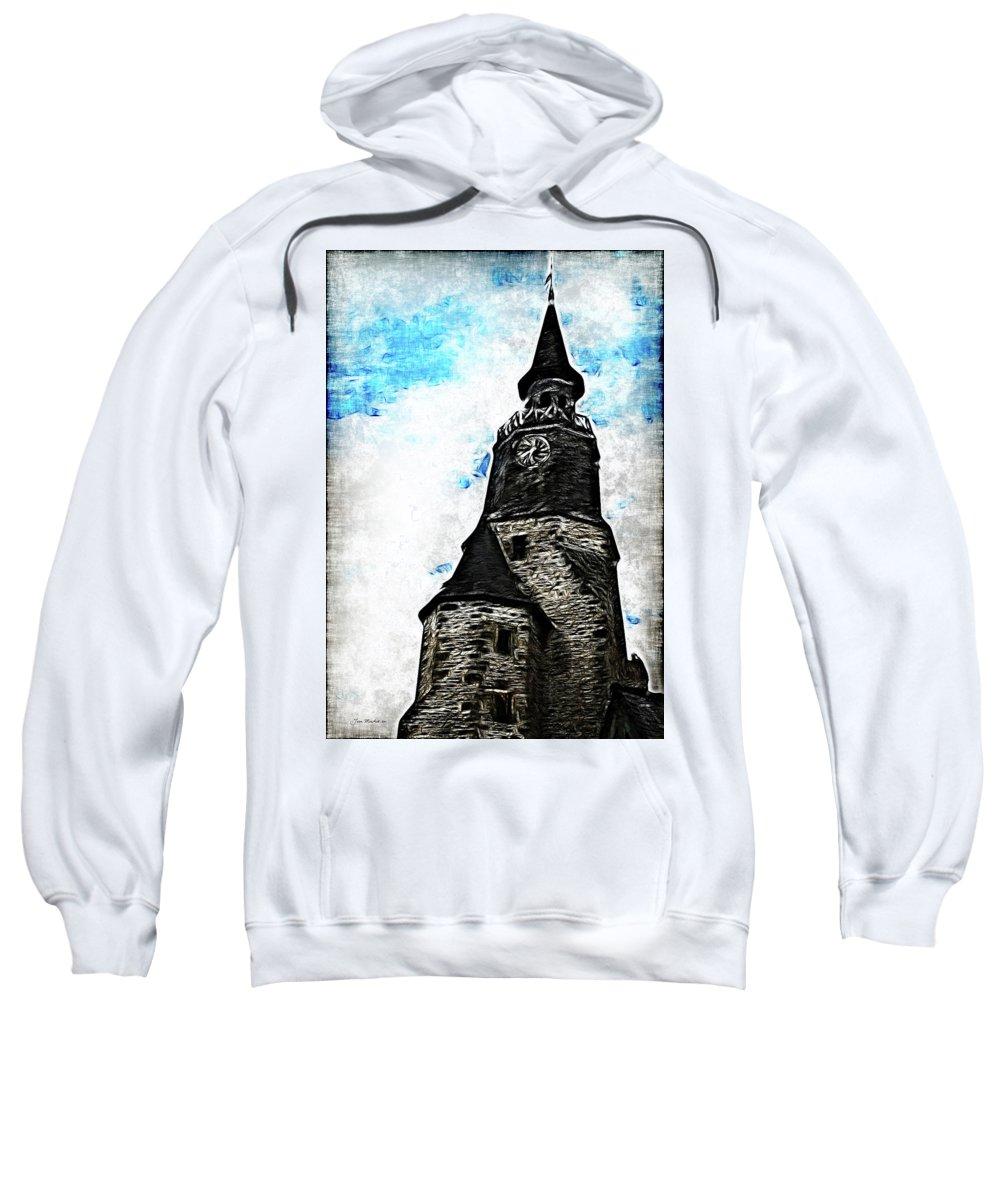 Dinan Sweatshirt featuring the photograph Dinan Clock Tower by Joan Minchak