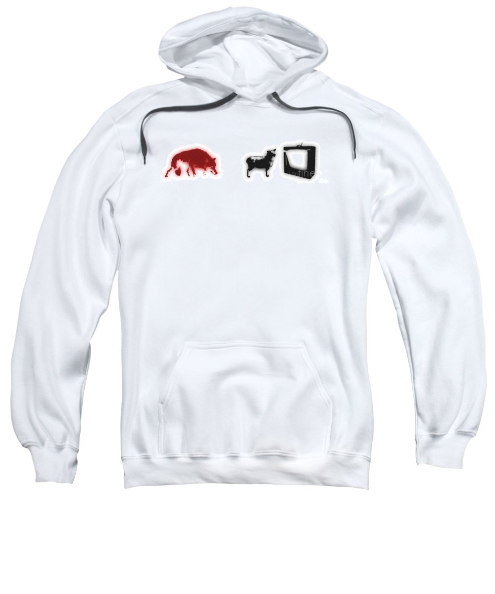 Banksy Sweatshirt featuring the digital art Distraction by Pixel Chimp and Dave Merrill