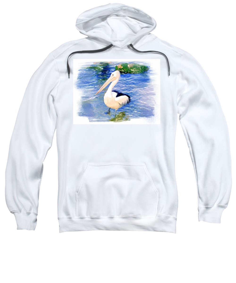 Animals Sweatshirt featuring the photograph Do-00088 Pelican by Digital Oil