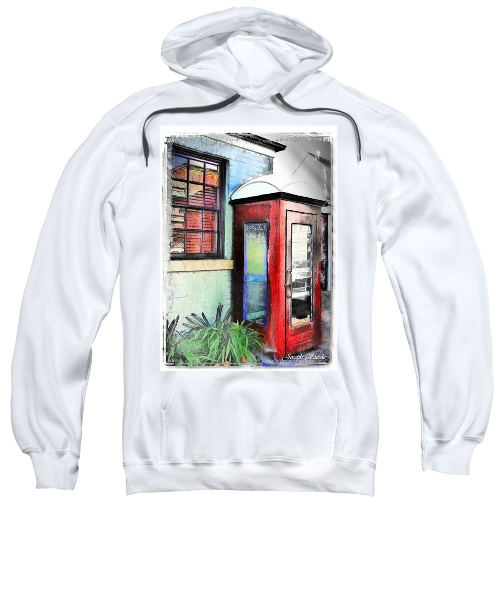 Telephone Sweatshirt featuring the photograph Do-00091 Telephone Booth In Morpeth by Digital Oil