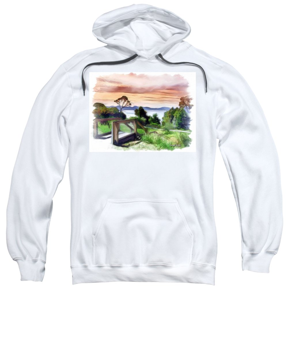 Look Out Sweatshirt featuring the photograph Do-00272 Look Out From Sarah Island by Digital Oil