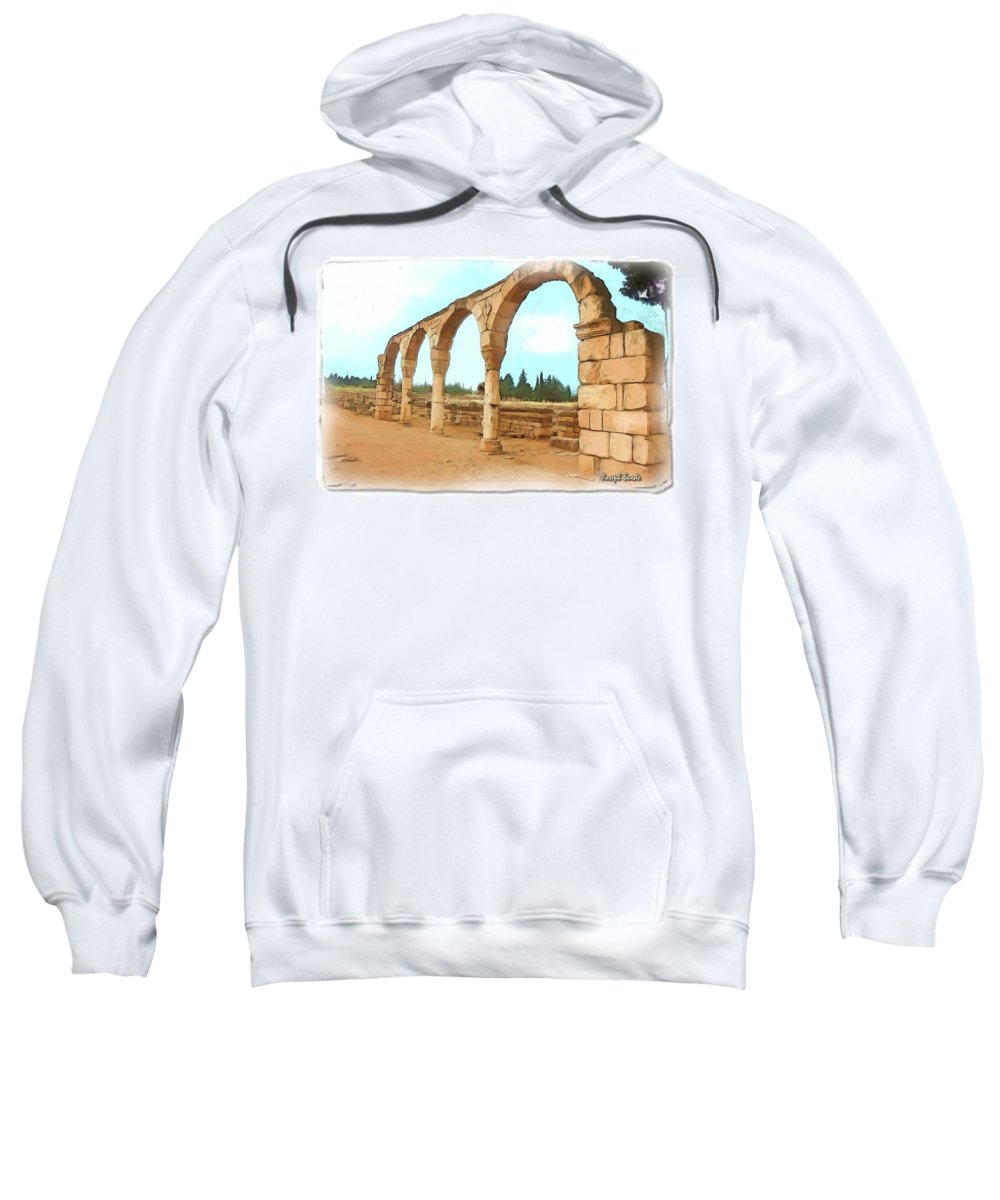 Ancient Sweatshirt featuring the photograph Do-00303 Arcades In Anjar by Digital Oil