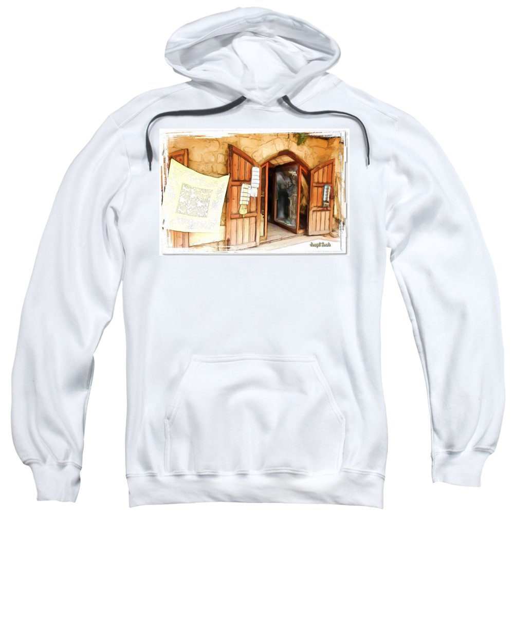 Display Sweatshirt featuring the photograph Do-00345 Display Door In The Souk Of Byblos by Digital Oil