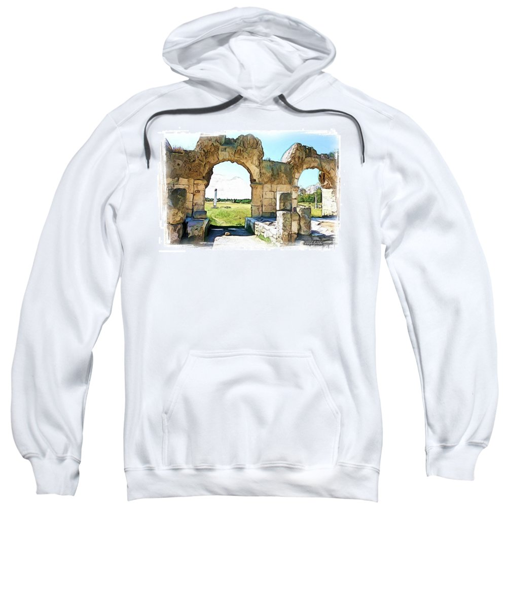 Ancient Sweatshirt featuring the photograph Do-00409 View On Arena In Tyr by Digital Oil