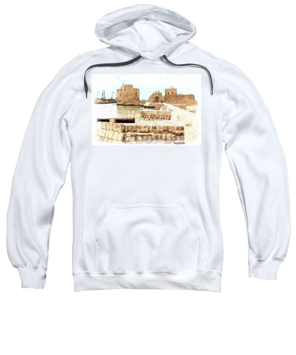 Citadel Sweatshirt featuring the photograph Do-00423 Citadel Of Sidon by Digital Oil