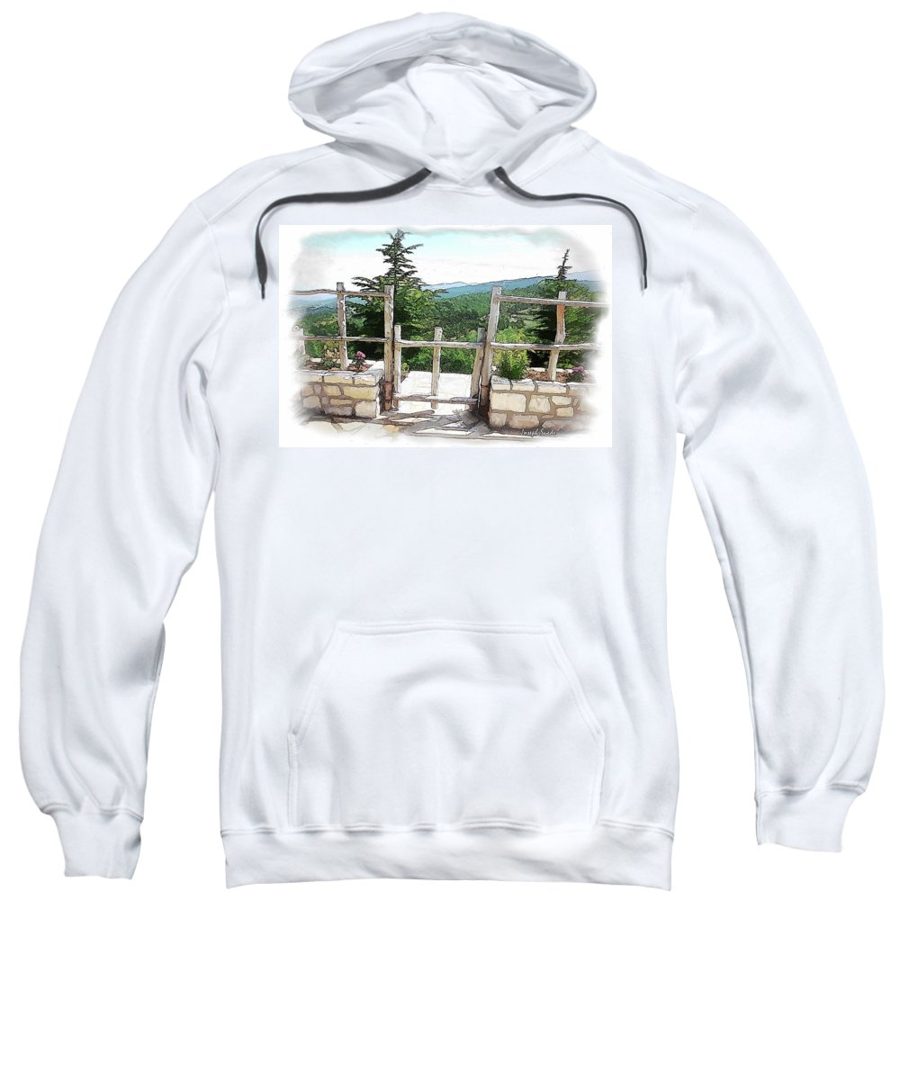 Fence Sweatshirt featuring the photograph Do-00458 Fence Mar Charbel Chabel by Digital Oil
