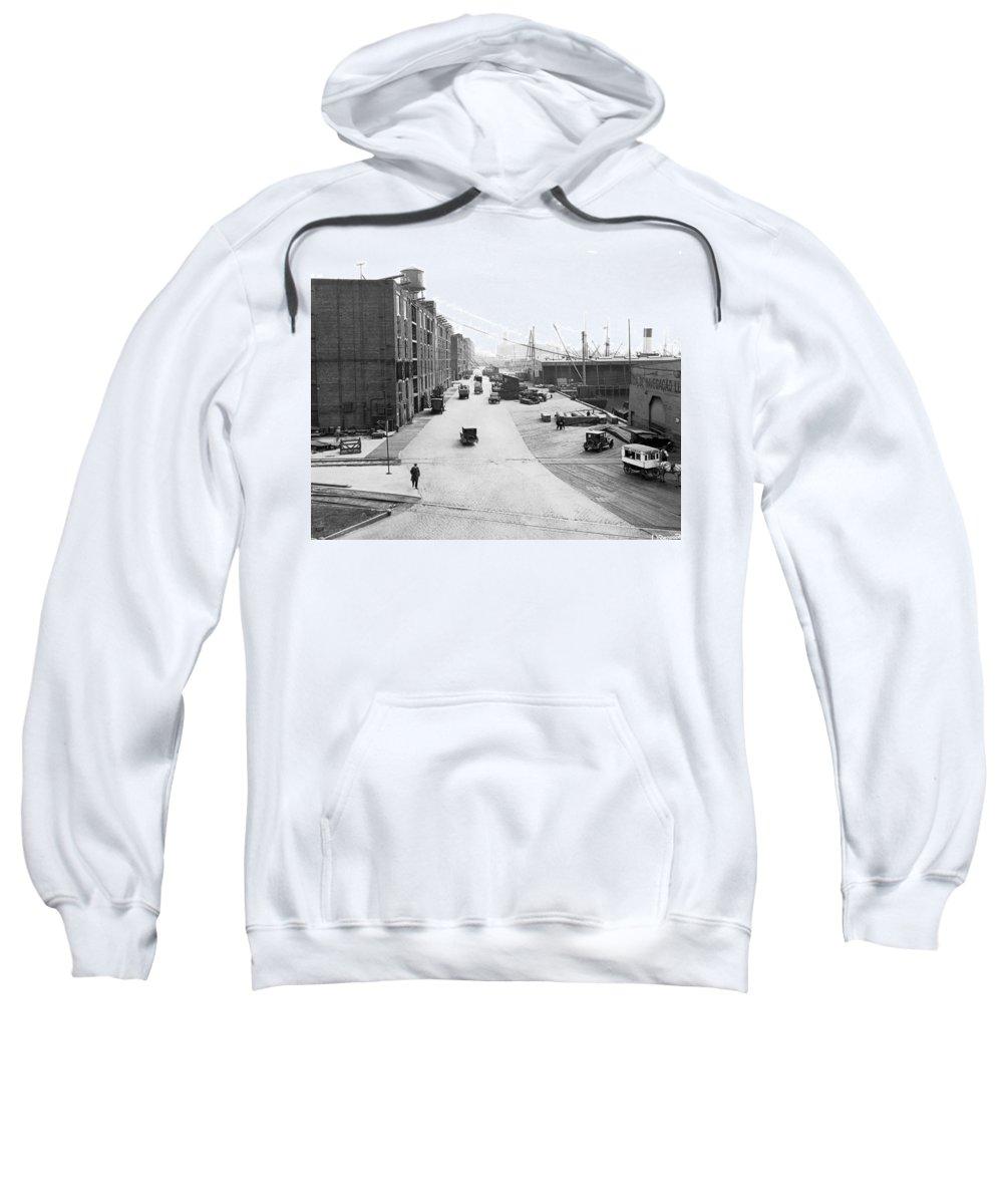 1920 Sweatshirt featuring the photograph Dock Scene In New York City by Underwood & Underwood