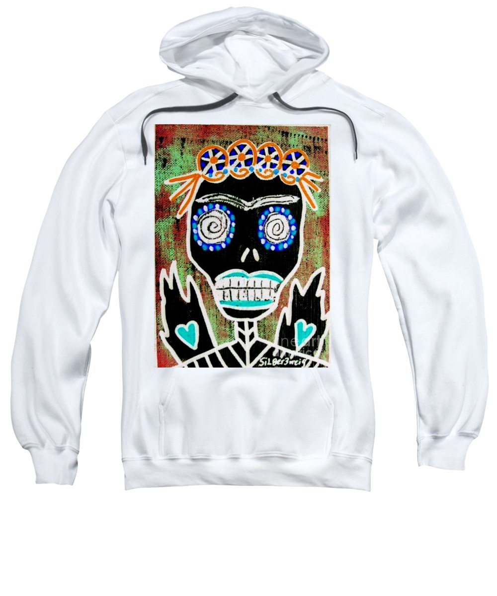 Sweatshirt featuring the mixed media Dod Art 123oiu by Sandra Silberzweig