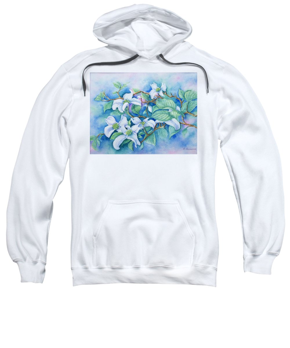 Floral Sweatshirt featuring the painting Dogwood by Conni Reinecke