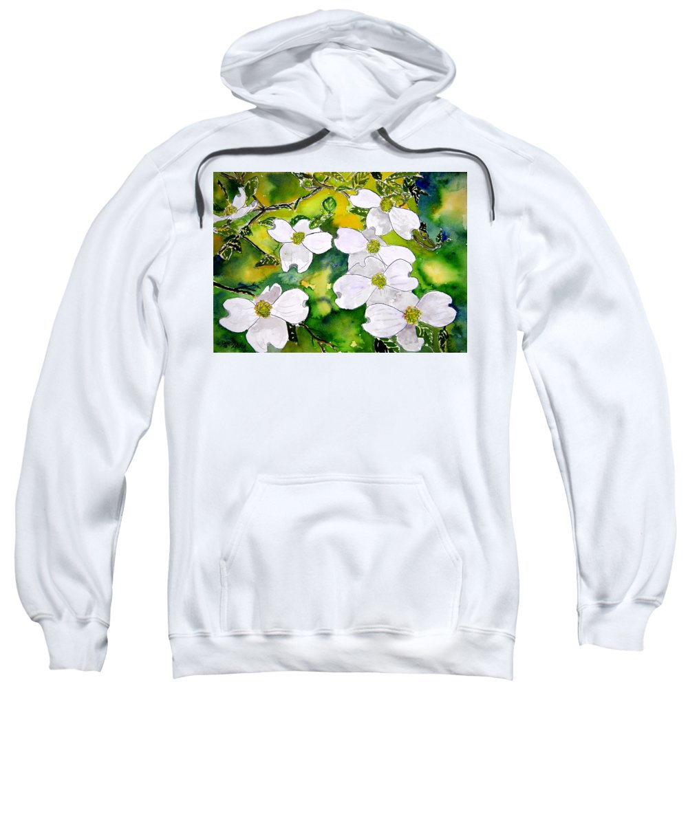 Dogwood Sweatshirt featuring the painting Dogwood Tree Flowers by Derek Mccrea