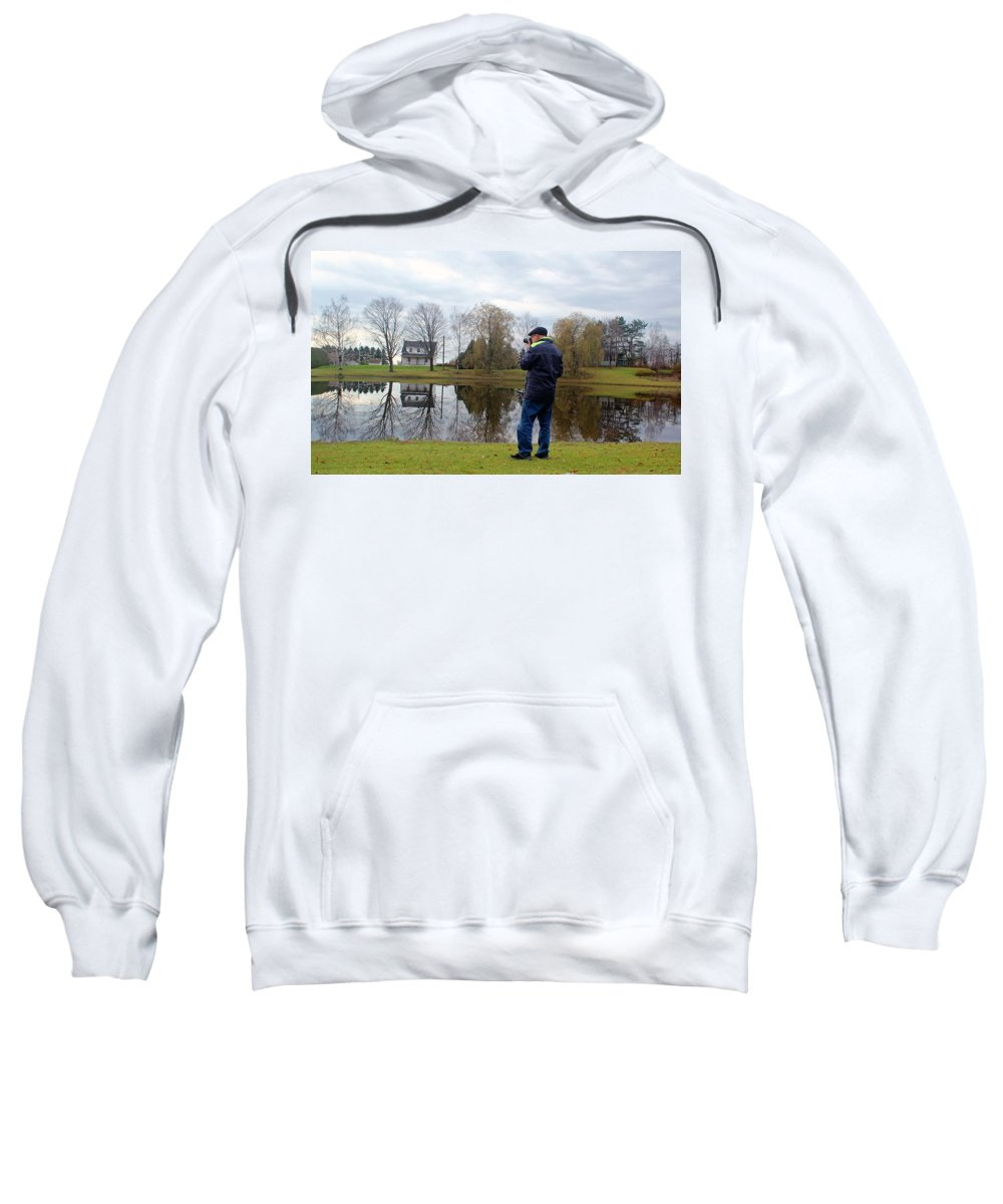 Blue Sweatshirt featuring the photograph Doing Photo by Michel Poulin