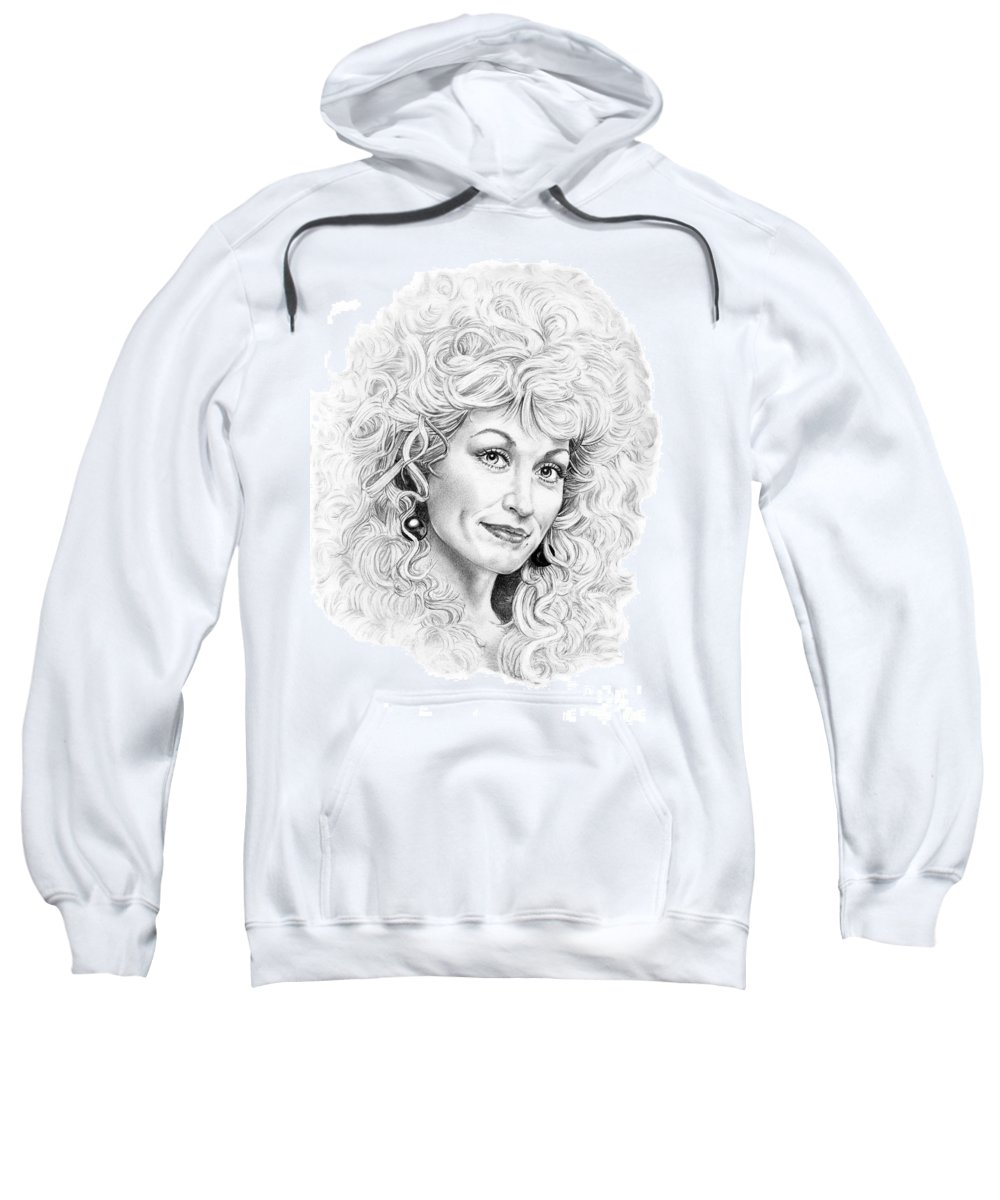 Portrait Sweatshirt featuring the drawing Dolly Parton by Murphy Elliott