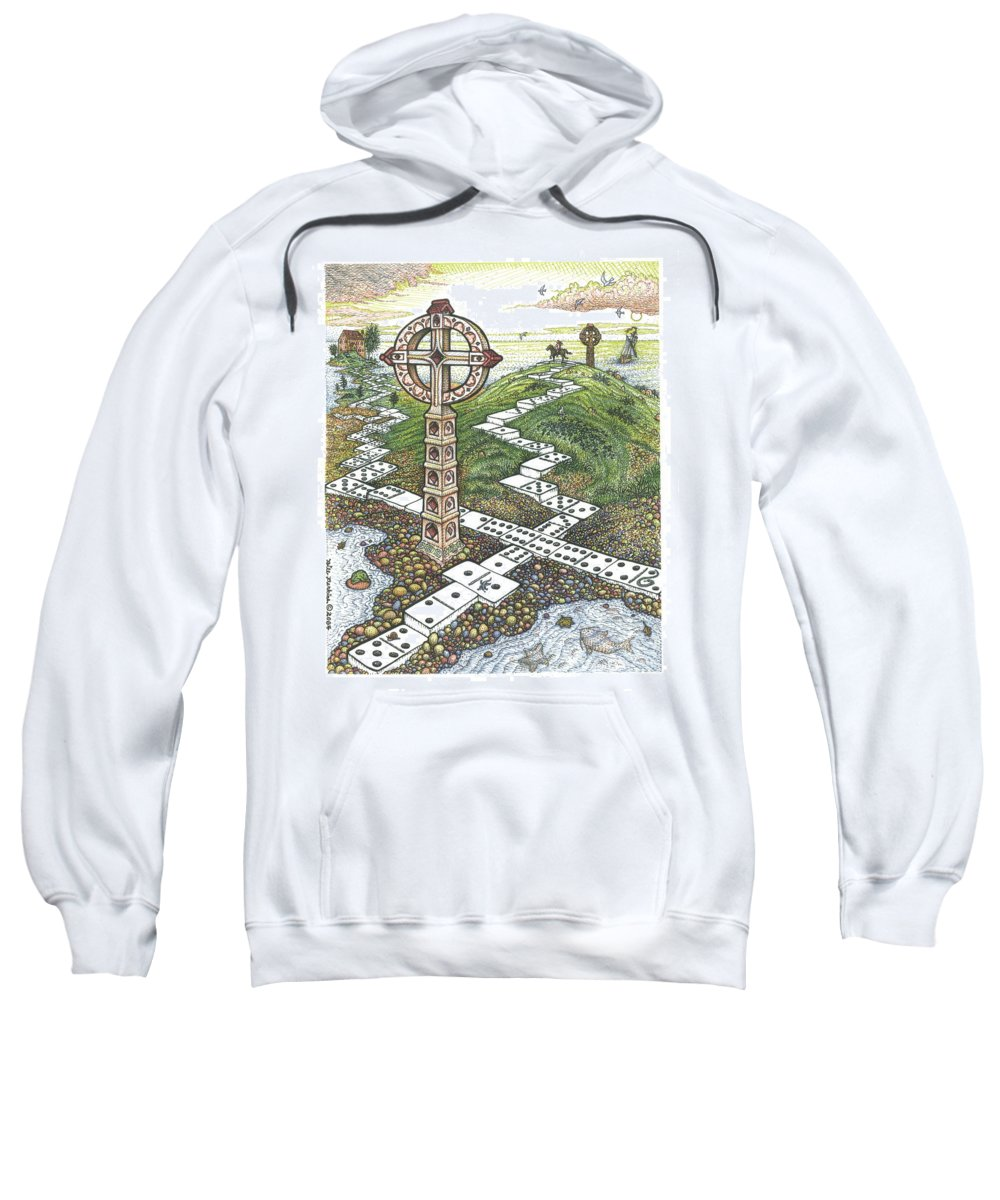 Landscape Sweatshirt featuring the drawing Domino Crosses by Bill Perkins