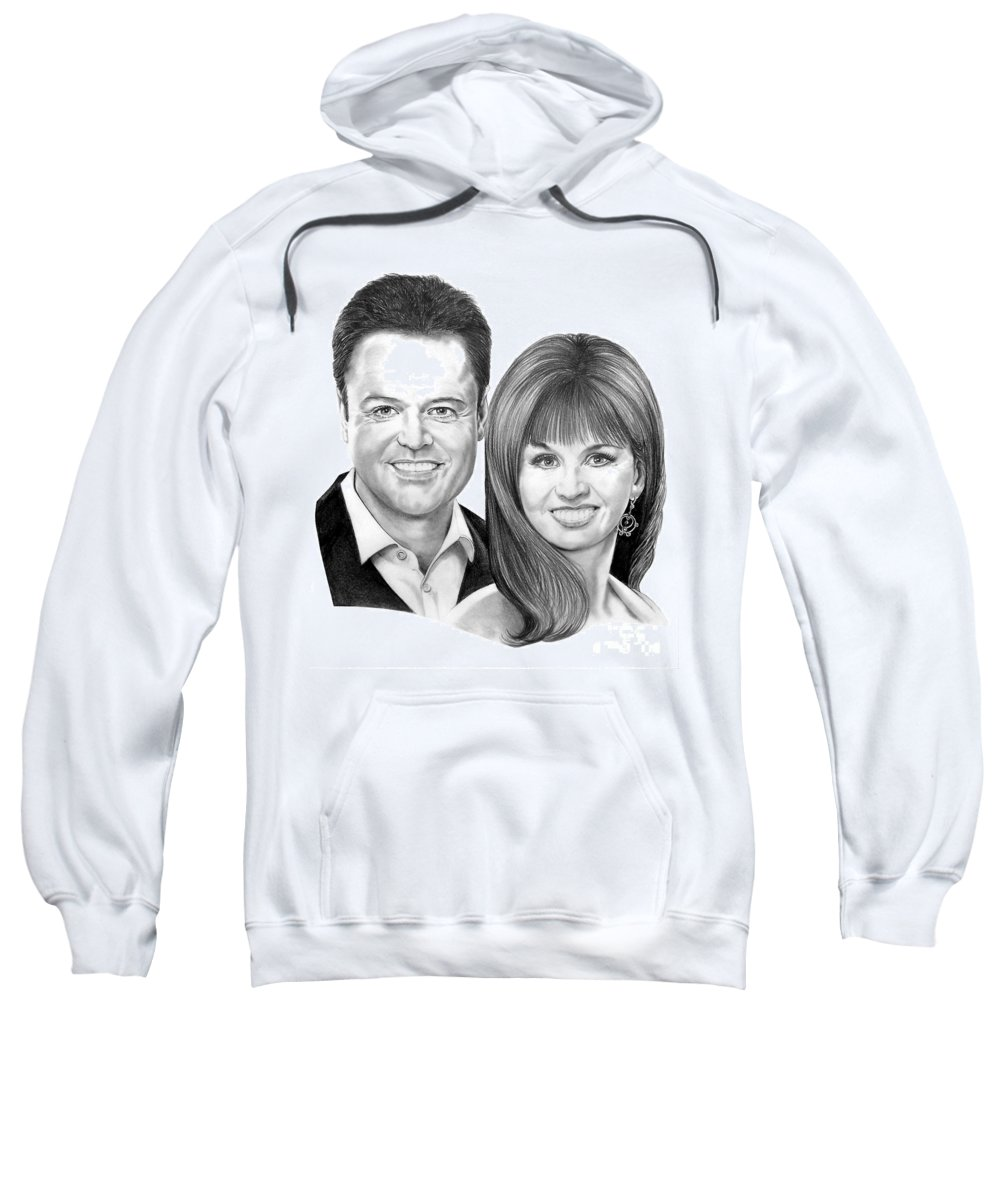 Osmonds Sweatshirt featuring the drawing Donnie And Marie Osmond by Murphy Elliott