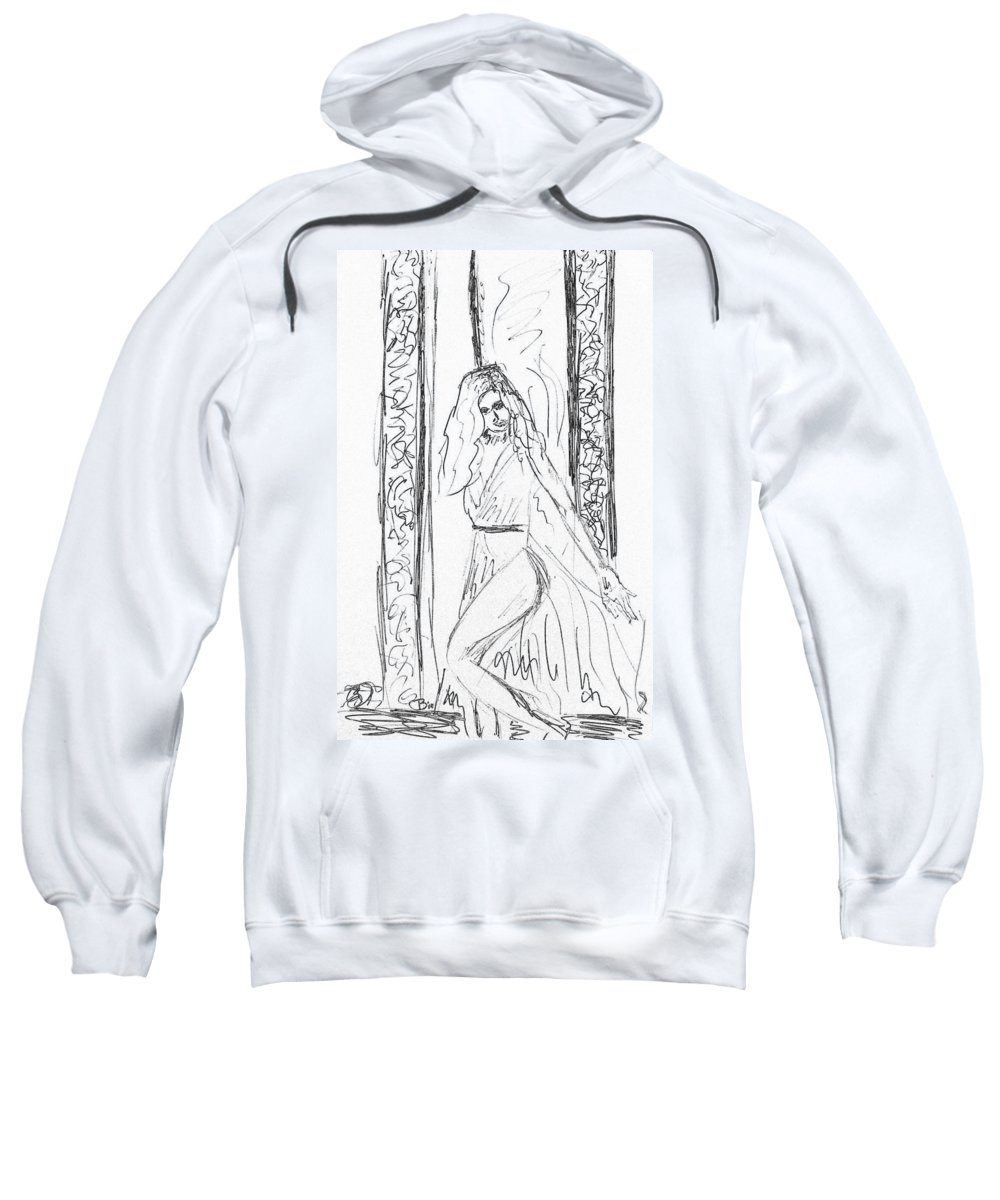 Sketch Sweatshirt featuring the drawing Doodleher by Donna Blackhall