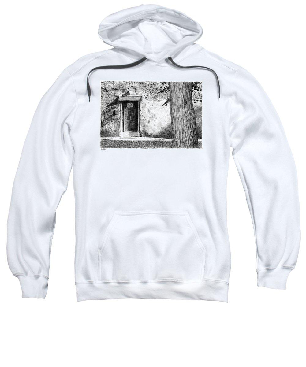 Door Sweatshirt featuring the drawing Door by Scott Woyak