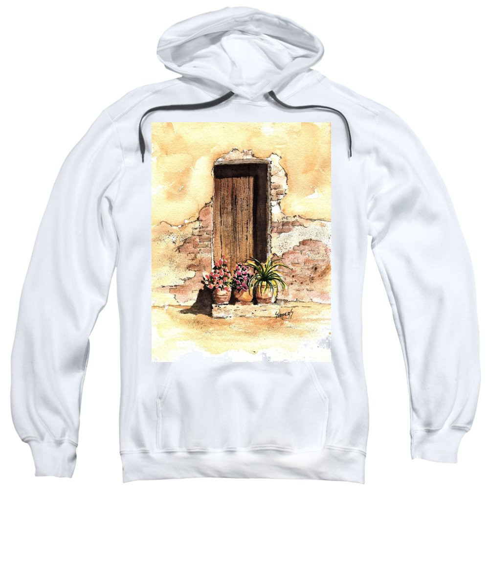 Door Sweatshirt featuring the painting Door With Flowers by Sam Sidders