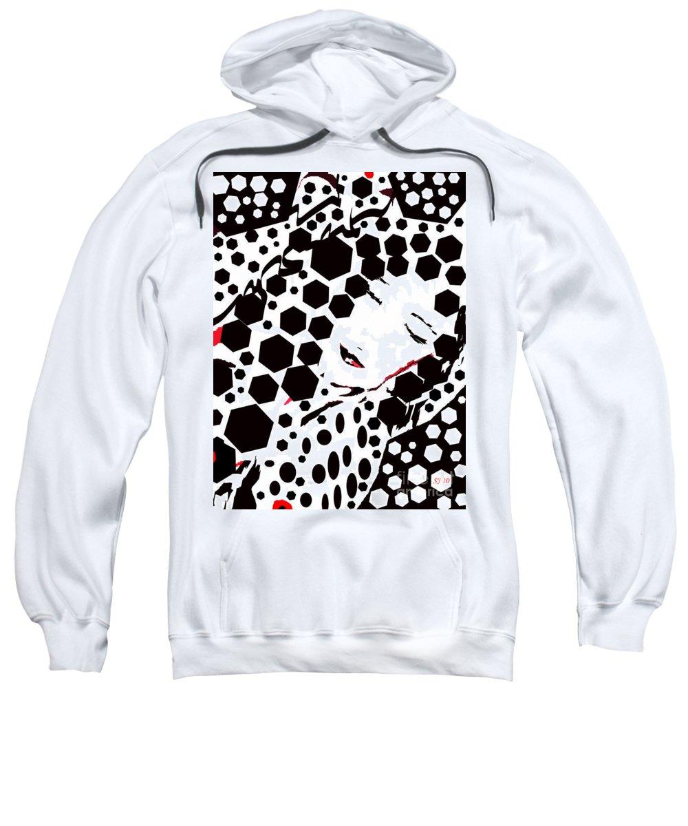 Female Sweatshirt featuring the digital art Dotty by Shelley Jones