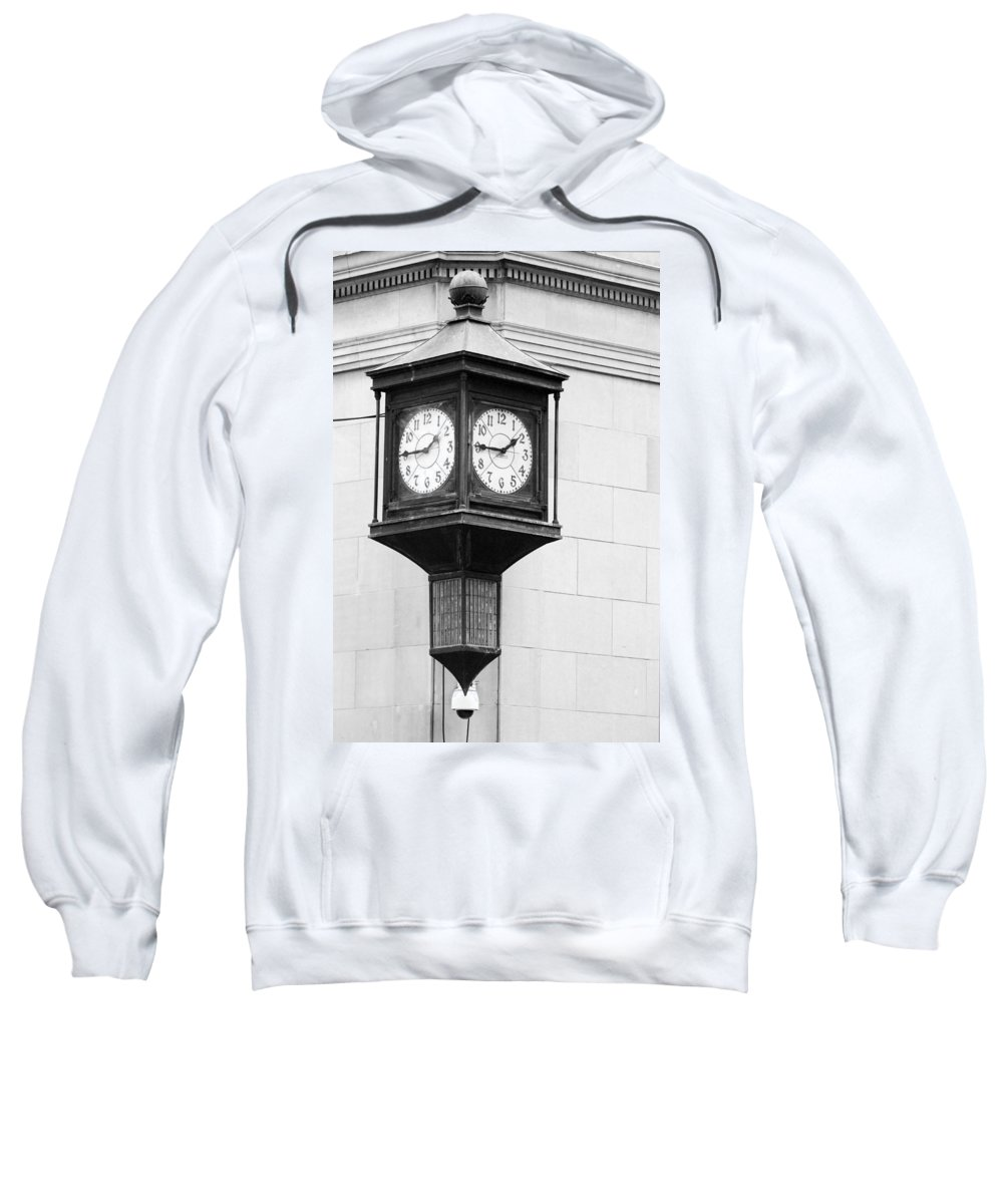 Black And White Sweatshirt featuring the photograph Double Time Black And White by Jill Reger