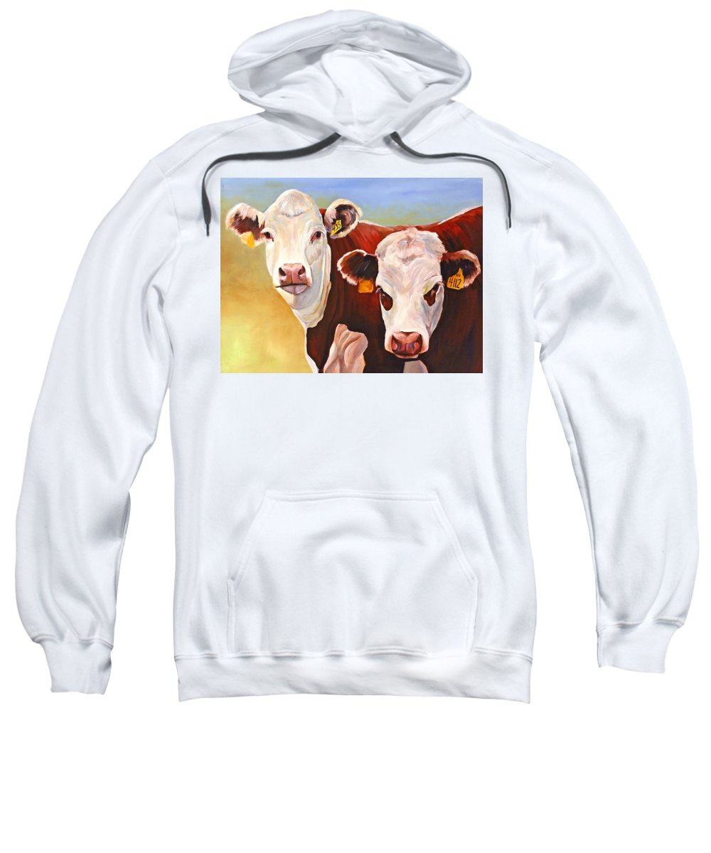 Hereford Sweatshirt featuring the painting Double Trouble Hereford Cows by Toni Grote