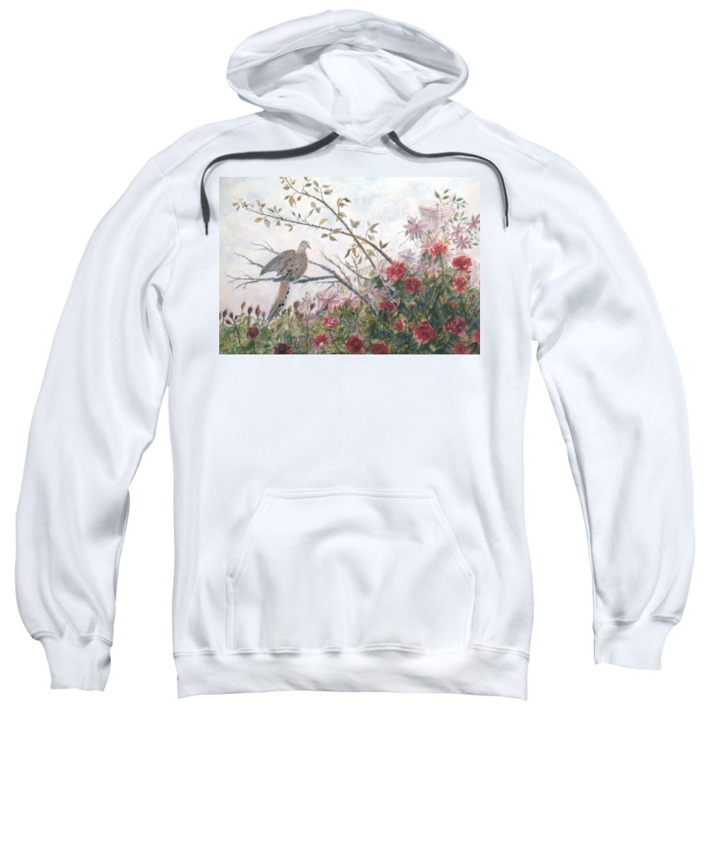 Dove; Roses Sweatshirt featuring the painting Dove And Roses by Ben Kiger
