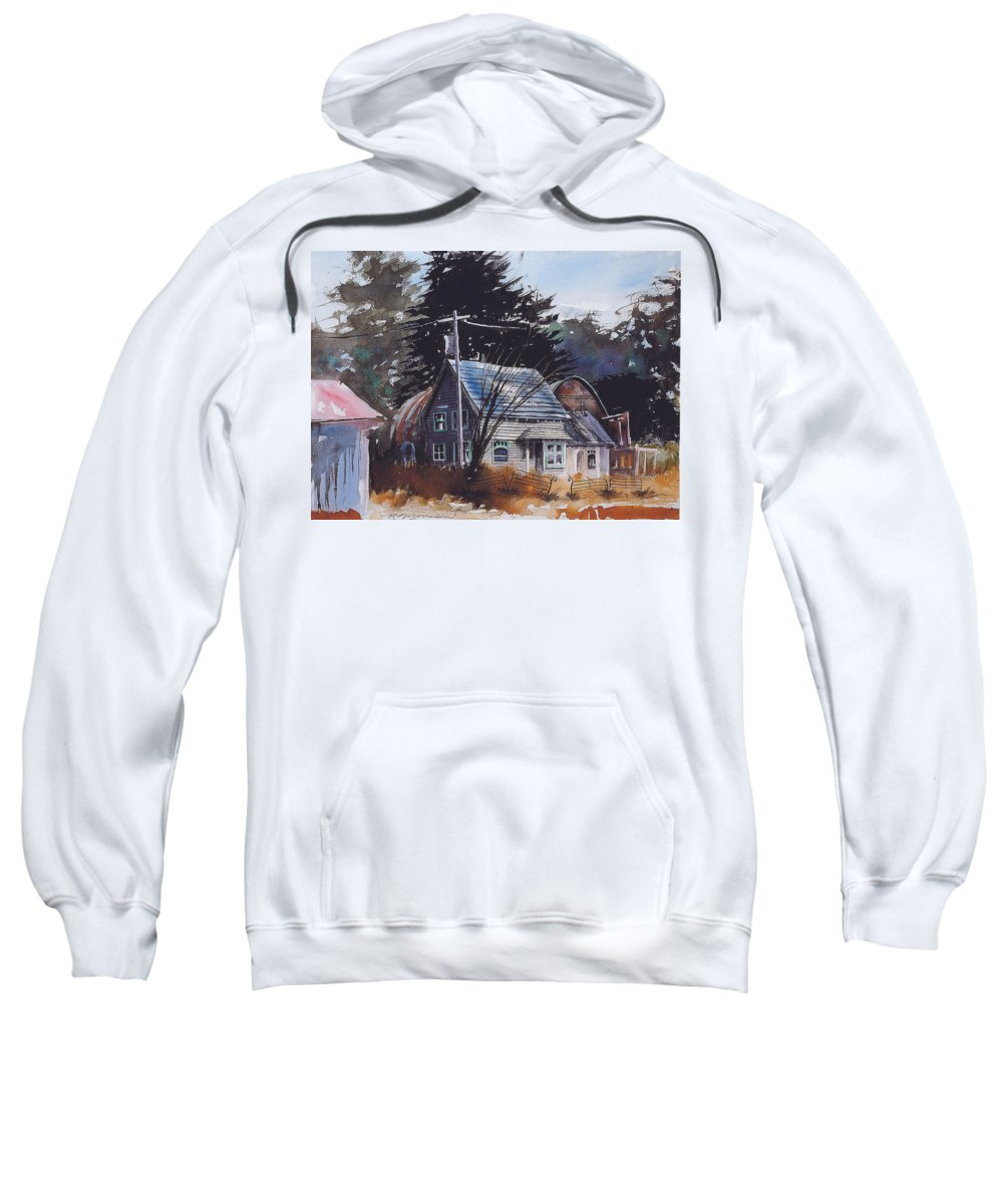 Old House Sweatshirt featuring the painting Down By The Swamp by Ron Morrison