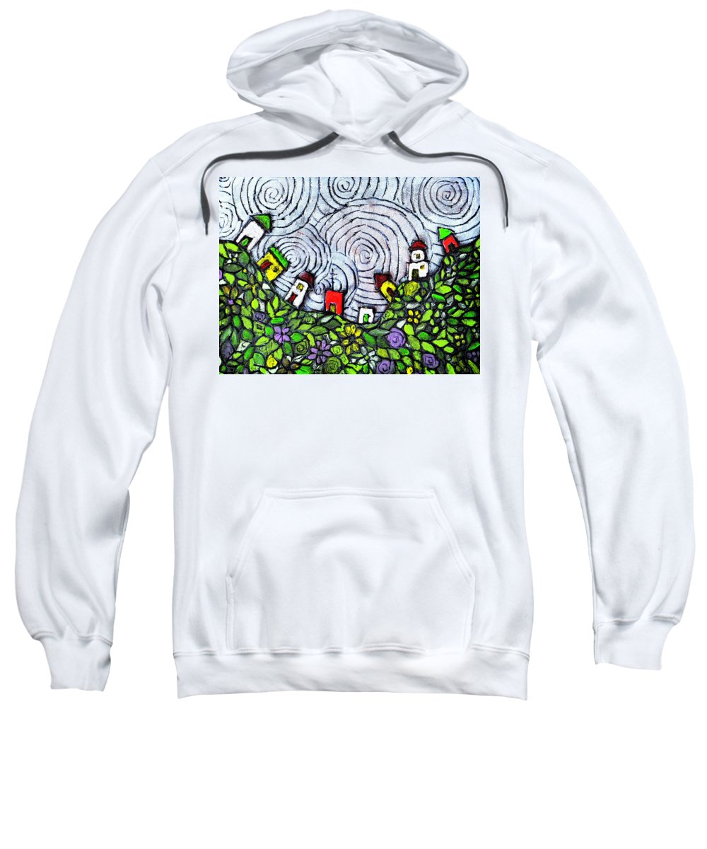 Folk Art Sweatshirt featuring the painting Down In The Valley by Wayne Potrafka