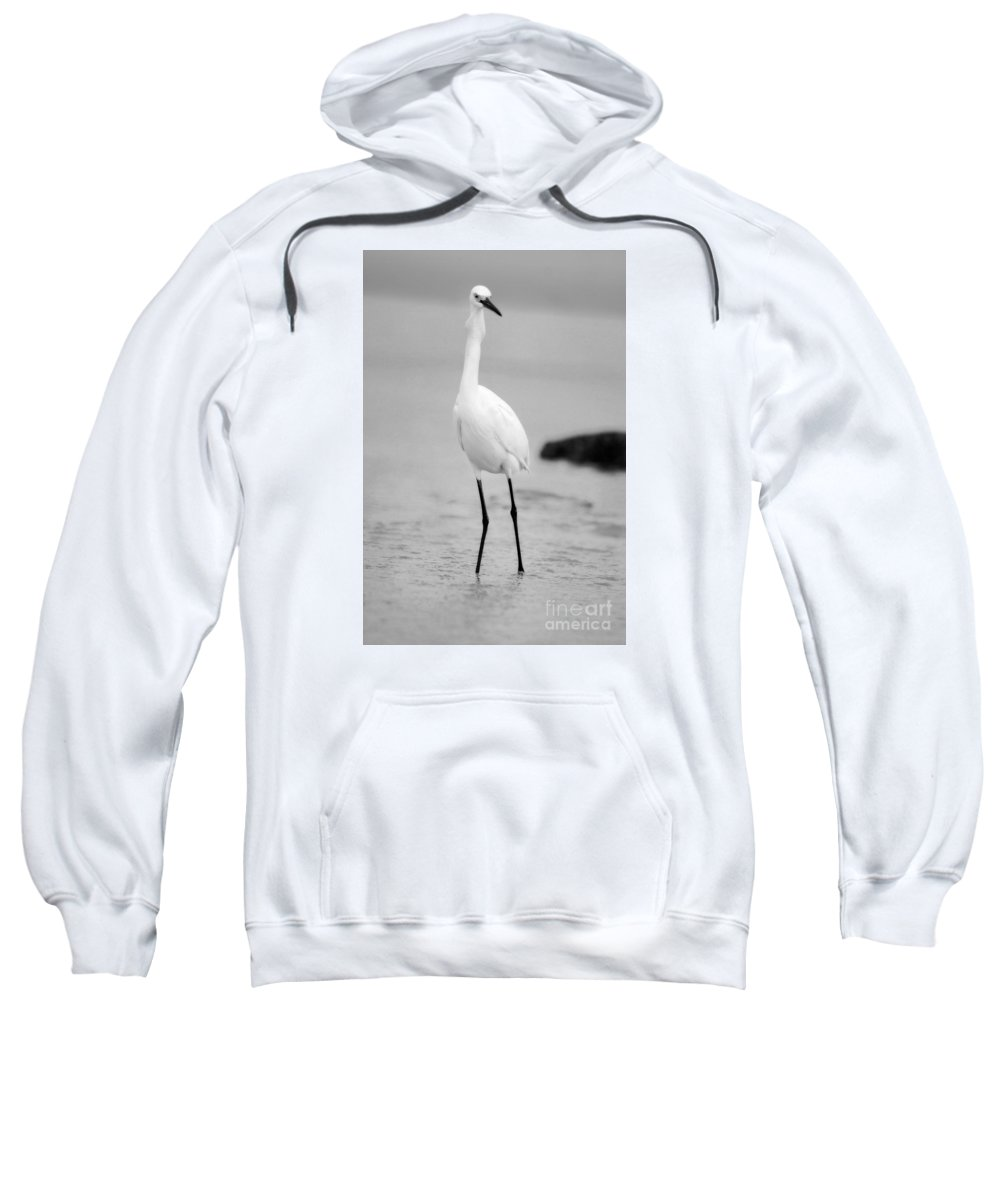Sweatshirt featuring the photograph Down The Hatch Goes The Fish In Black And White by Angela Rath