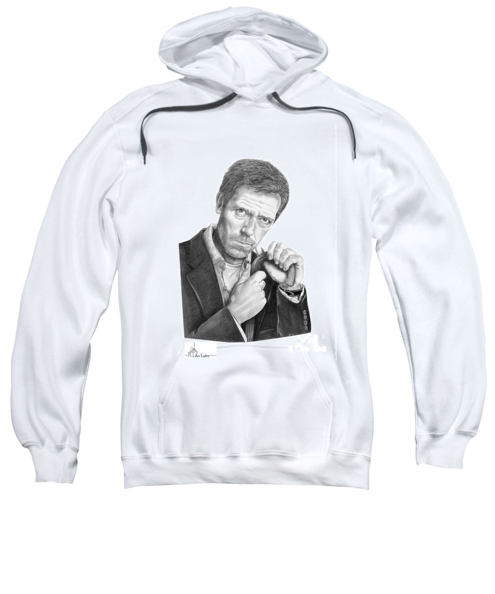 Drawing Sweatshirt featuring the drawing Dr. House Hugh Laurie by Murphy Elliott