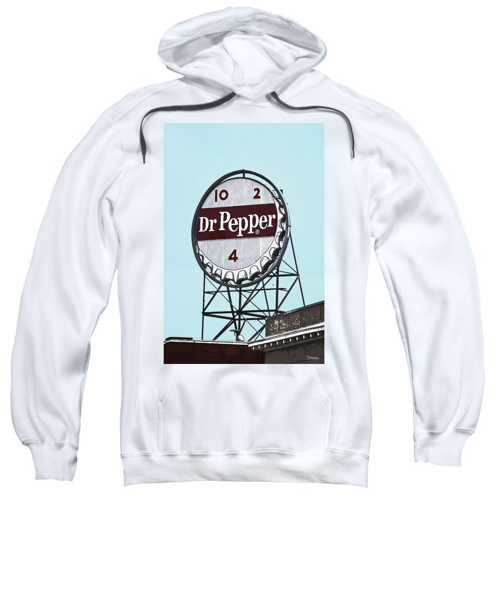 Dr Sweatshirt featuring the photograph Dr Pepper Landmark Sign Roanoke Virginia by Teresa Mucha