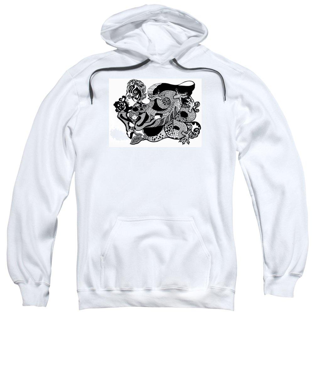 Fantasy Sweatshirt featuring the drawing Dragon Lady by Yelena Tylkina