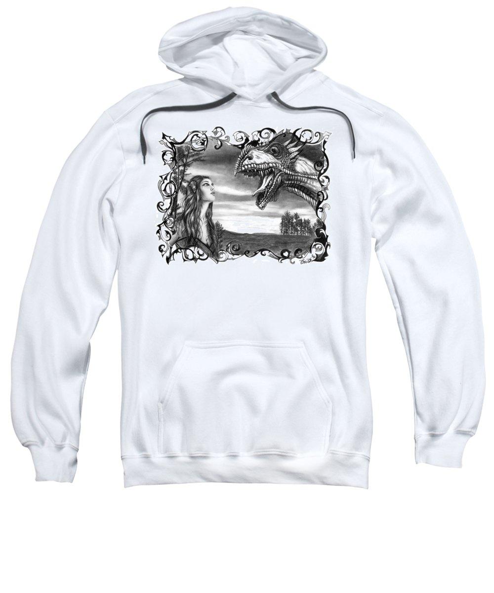 Dragon Whisperer Sweatshirt featuring the drawing Dragon Whisperer by Peter Piatt