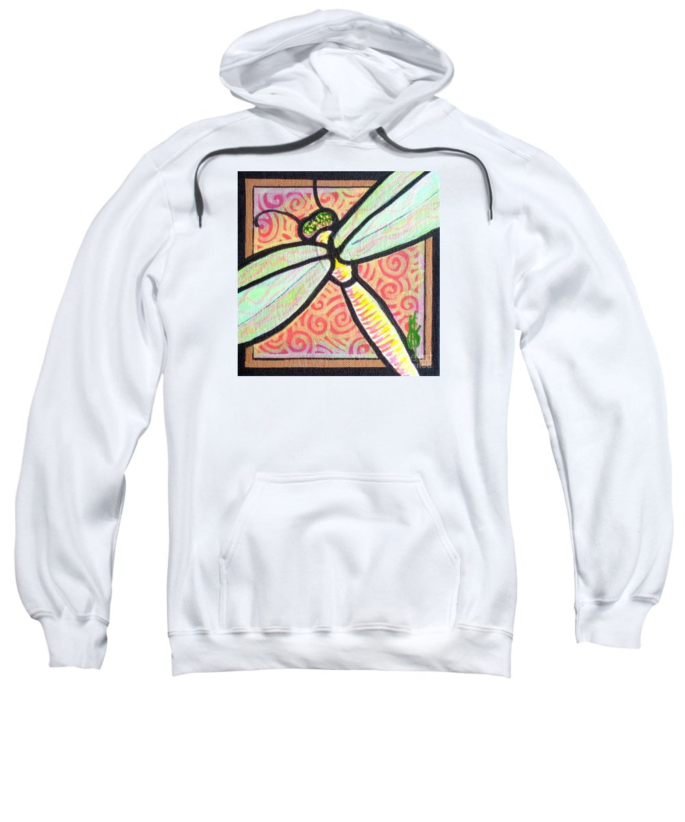 Dragonfly Sweatshirt featuring the painting Dragonfly Fantasy 3 by Jim Harris