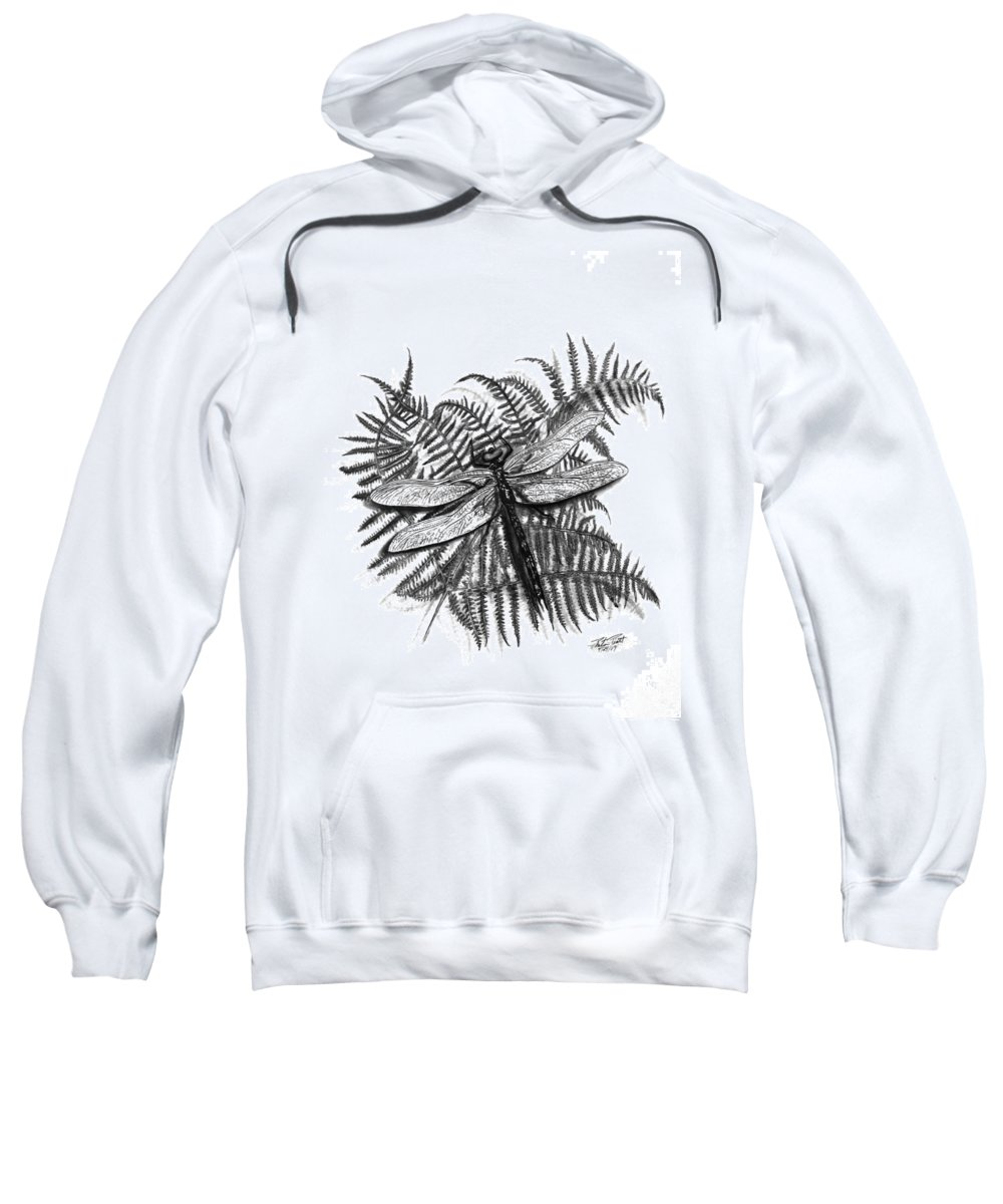 Dragonfly Sweatshirt featuring the drawing Dragonfly by Peter Piatt