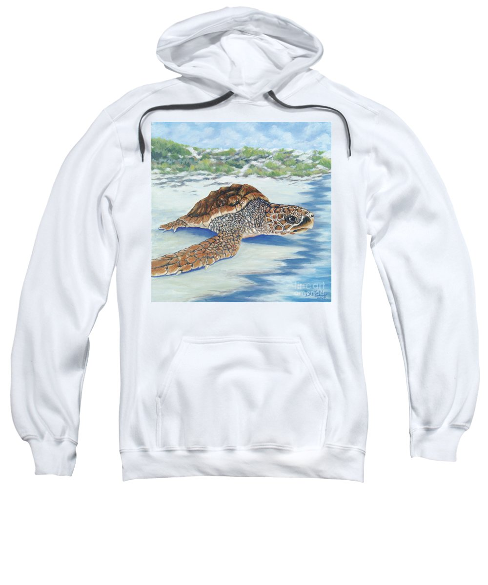 Sea Turtle Sweatshirt featuring the painting Dreaming Of Islands by Danielle Perry