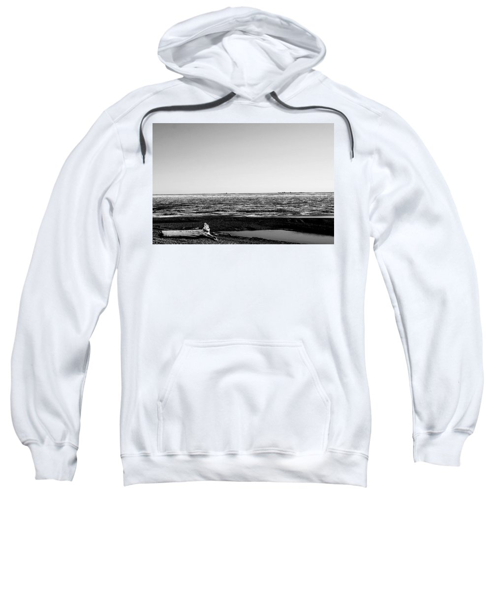 Landscape Sweatshirt featuring the photograph Driftwood On Arctic Beach Balck And White by Anthony Jones