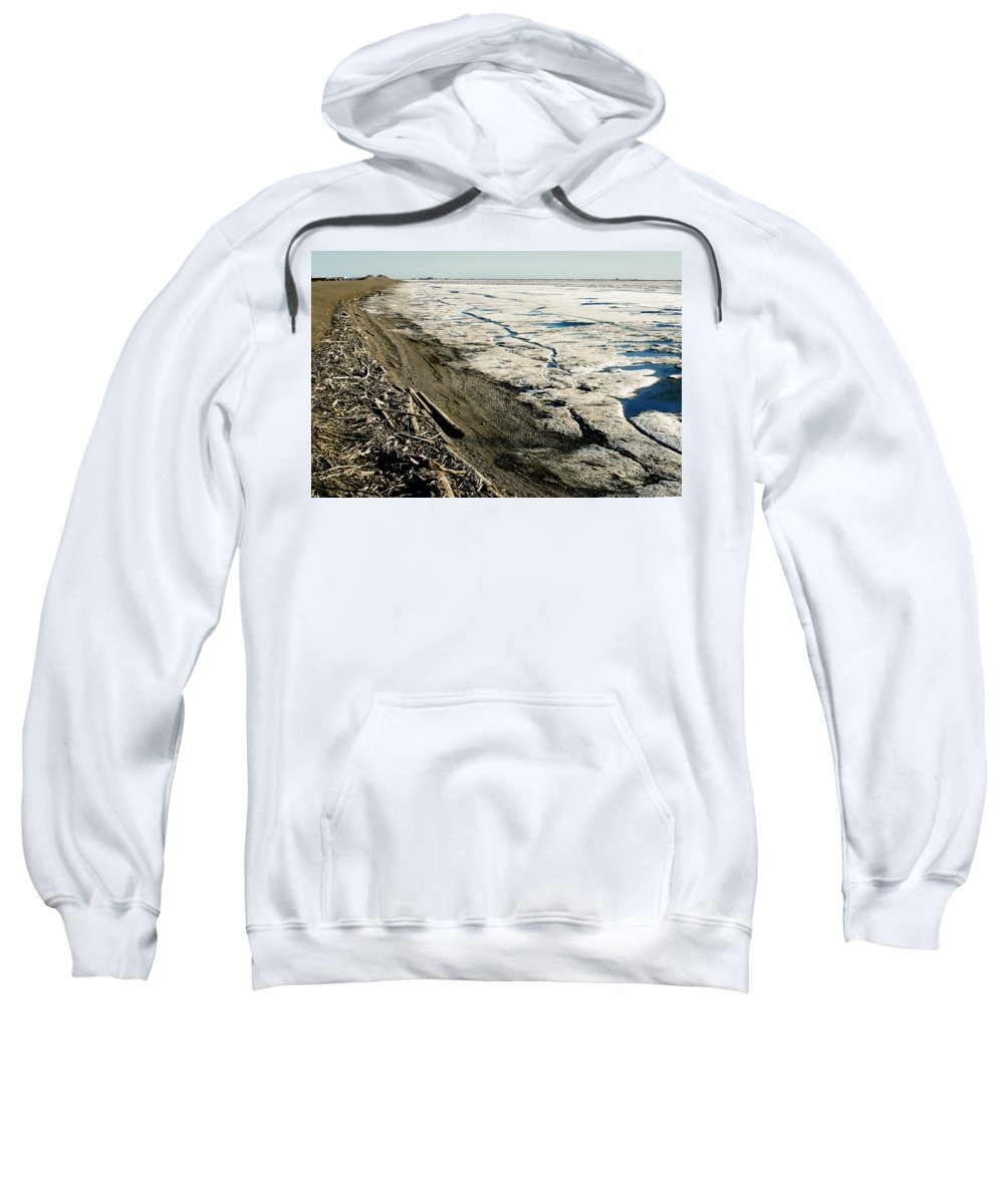Drift Wood Sweatshirt featuring the photograph Driftwood On The Frozen Arctic Coast by Anthony Jones