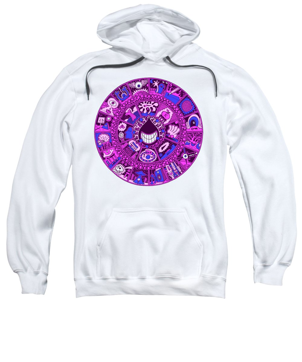 Mandala Sweatshirt featuring the drawing Drop Mandala Purple And Blue by Larry Carey
