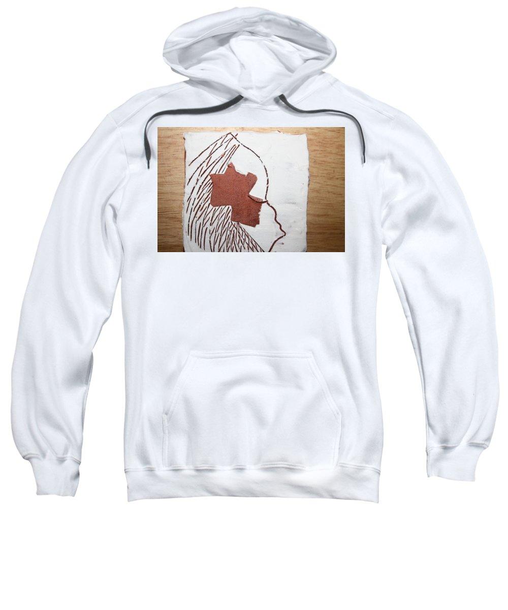 Jesus Sweatshirt featuring the ceramic art Drowsy - Tile by Gloria Ssali