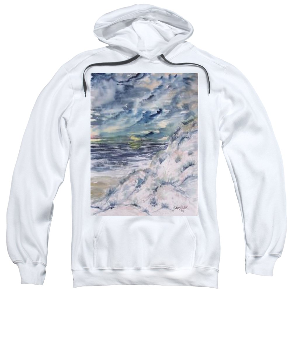 Seascape Sweatshirt featuring the painting Dunes 2 Seascape Painting Poster Print by Derek Mccrea