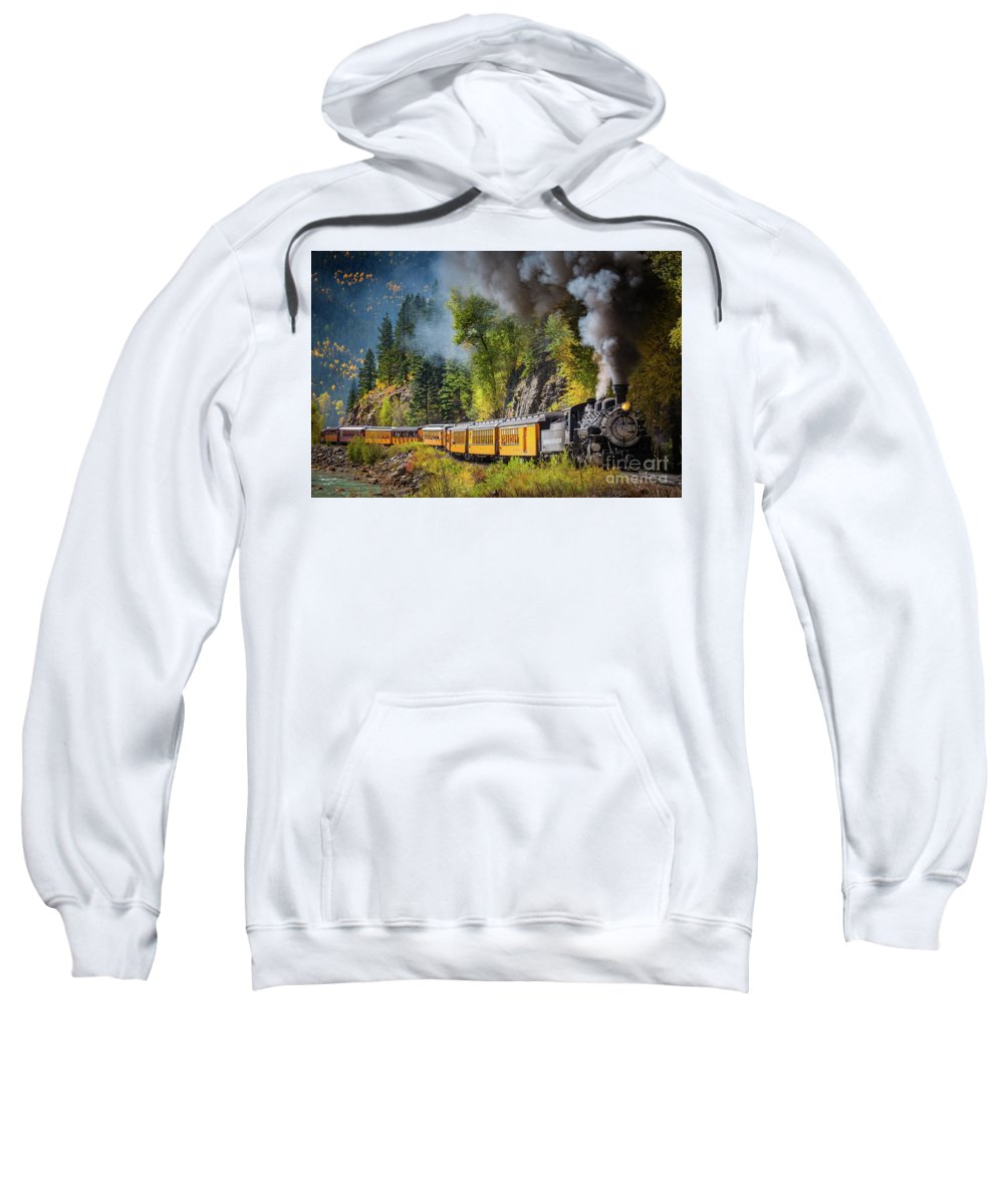 America Sweatshirt featuring the photograph Durango-silverton Narrow Gauge Railroad by Inge Johnsson