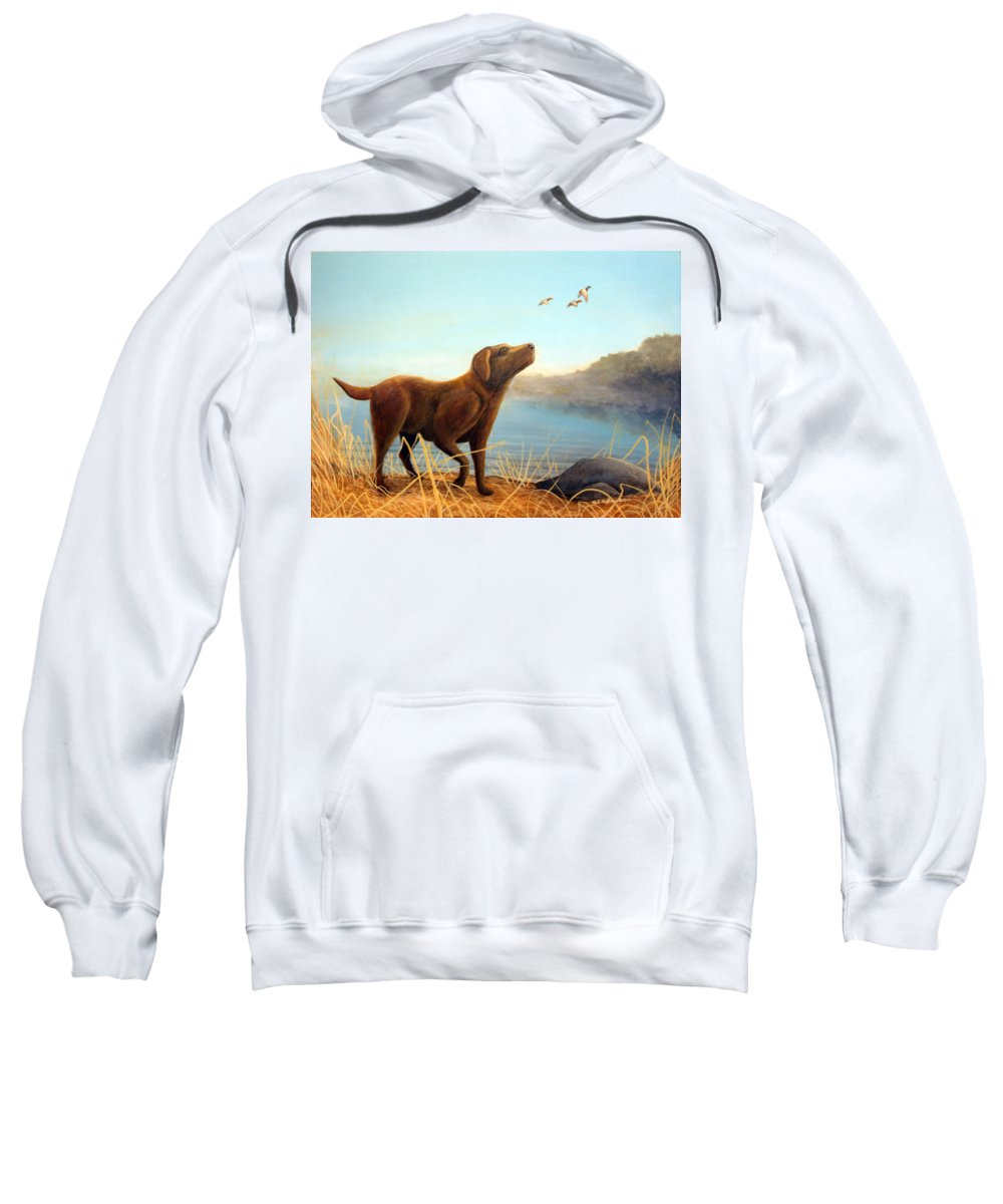 Chocolate Lab Painting Sweatshirt featuring the Dutch by Rick Huotari