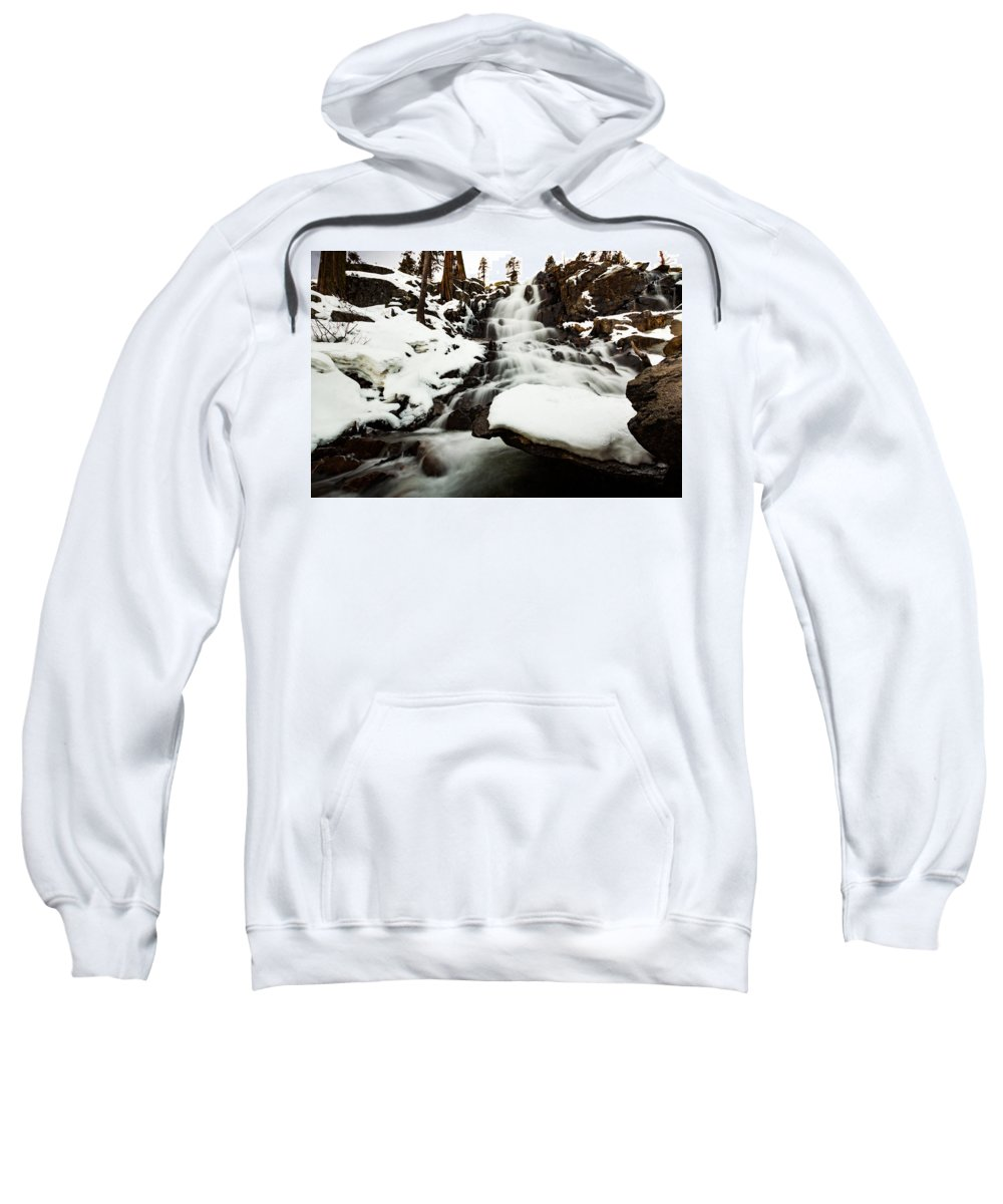 Landscape Sweatshirt featuring the photograph Eagle Falls Raging On Ice by Mike Herron
