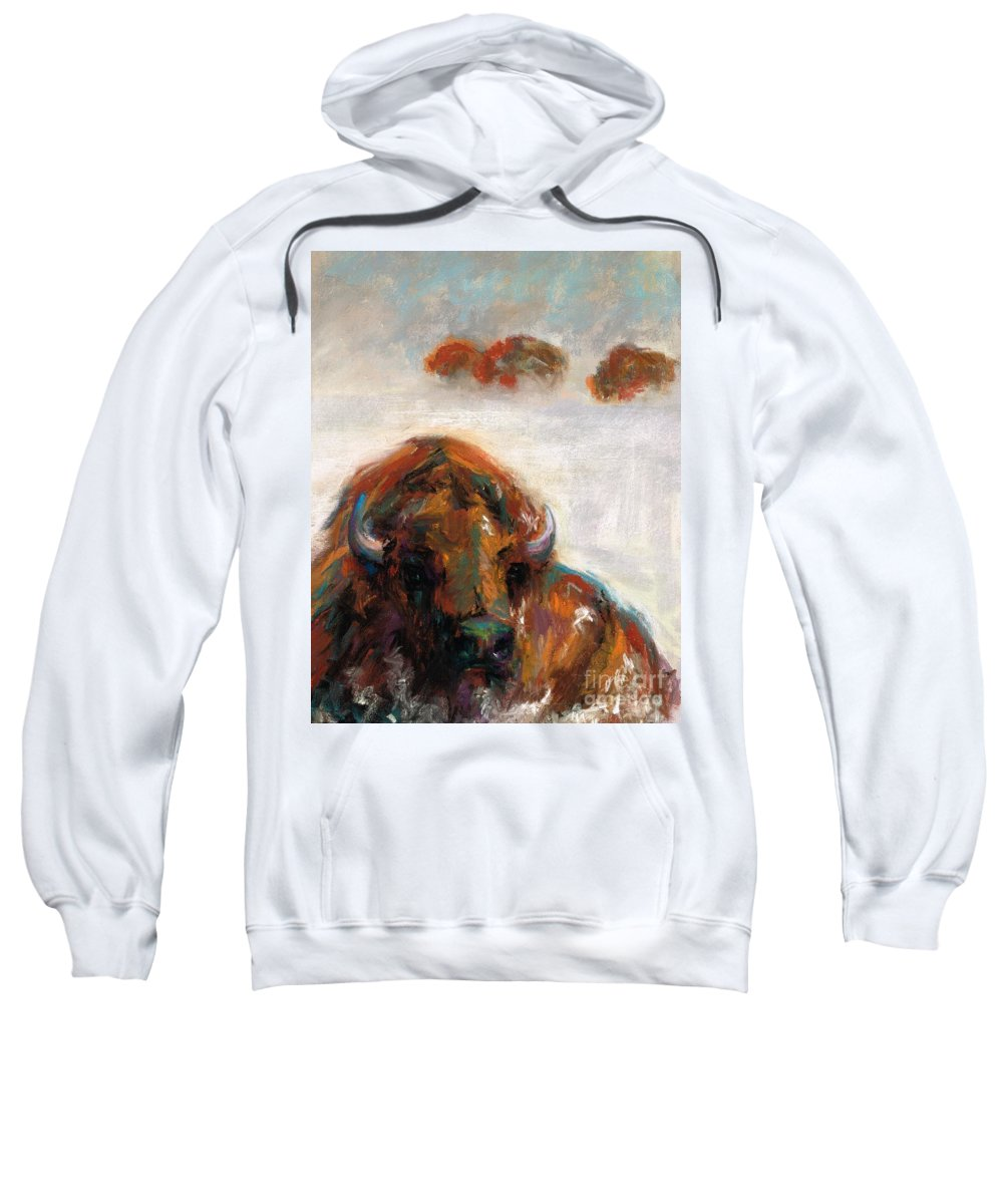Buffalo Sweatshirt featuring the painting Early Morning Snow by Frances Marino