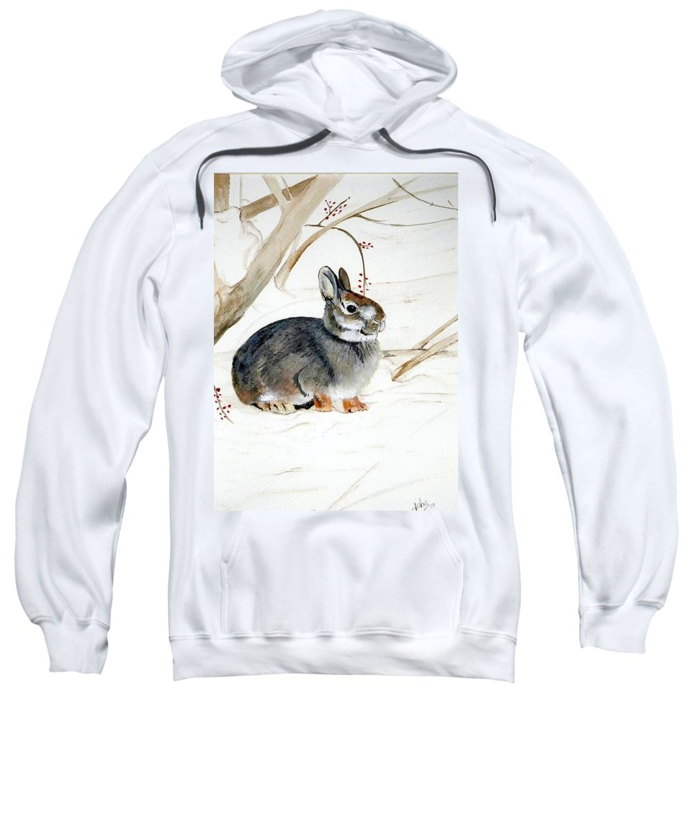 Rabbit Sweatshirt featuring the painting Early Snow by Debra Sandstrom