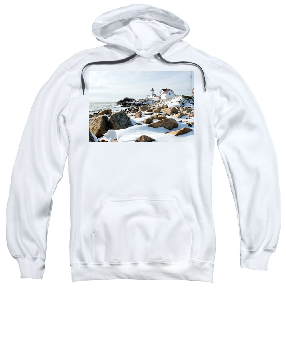 Gloucester Sweatshirt featuring the photograph Eastern Point Light II by Greg Fortier