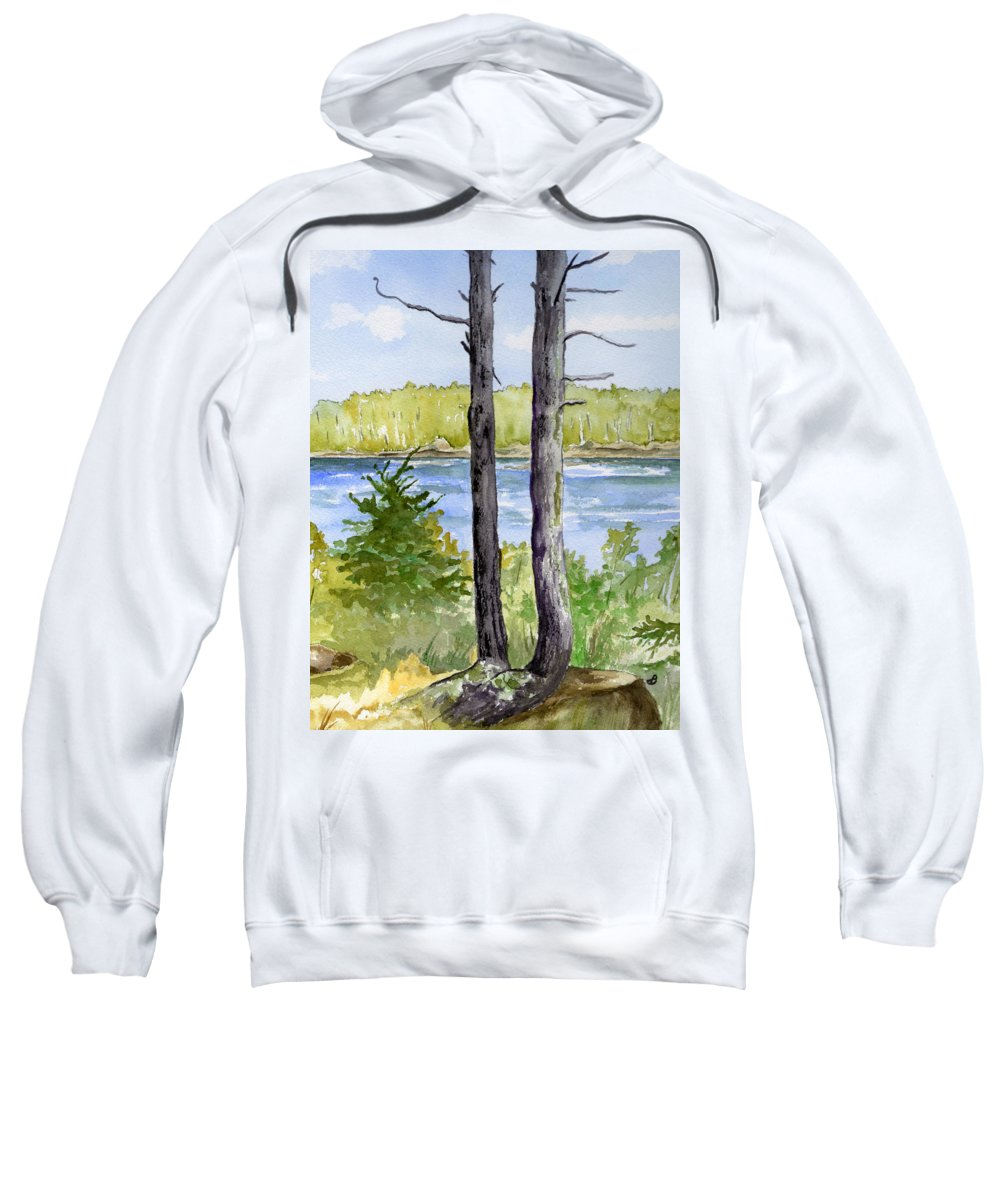 Landscape Seascape Trees Ocean Sea Maine Sweatshirt featuring the painting Eastport Maine Coastal Afternoon by Brenda Owen