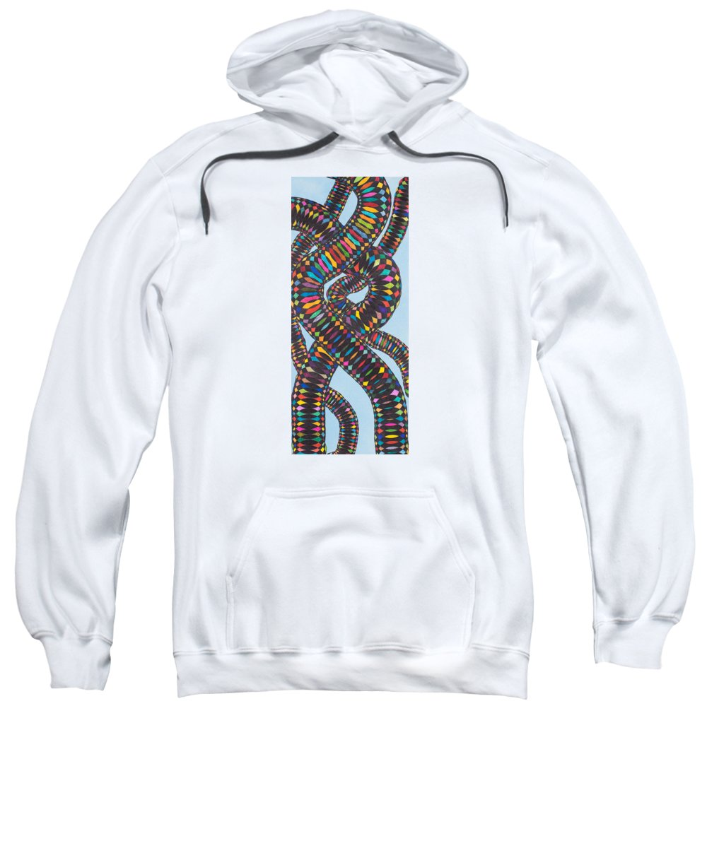 Synesthetic Painting Made On The Legacy Of Ebe's On Human Dna Sweatshirt featuring the painting Ebe Dna by George Sanen