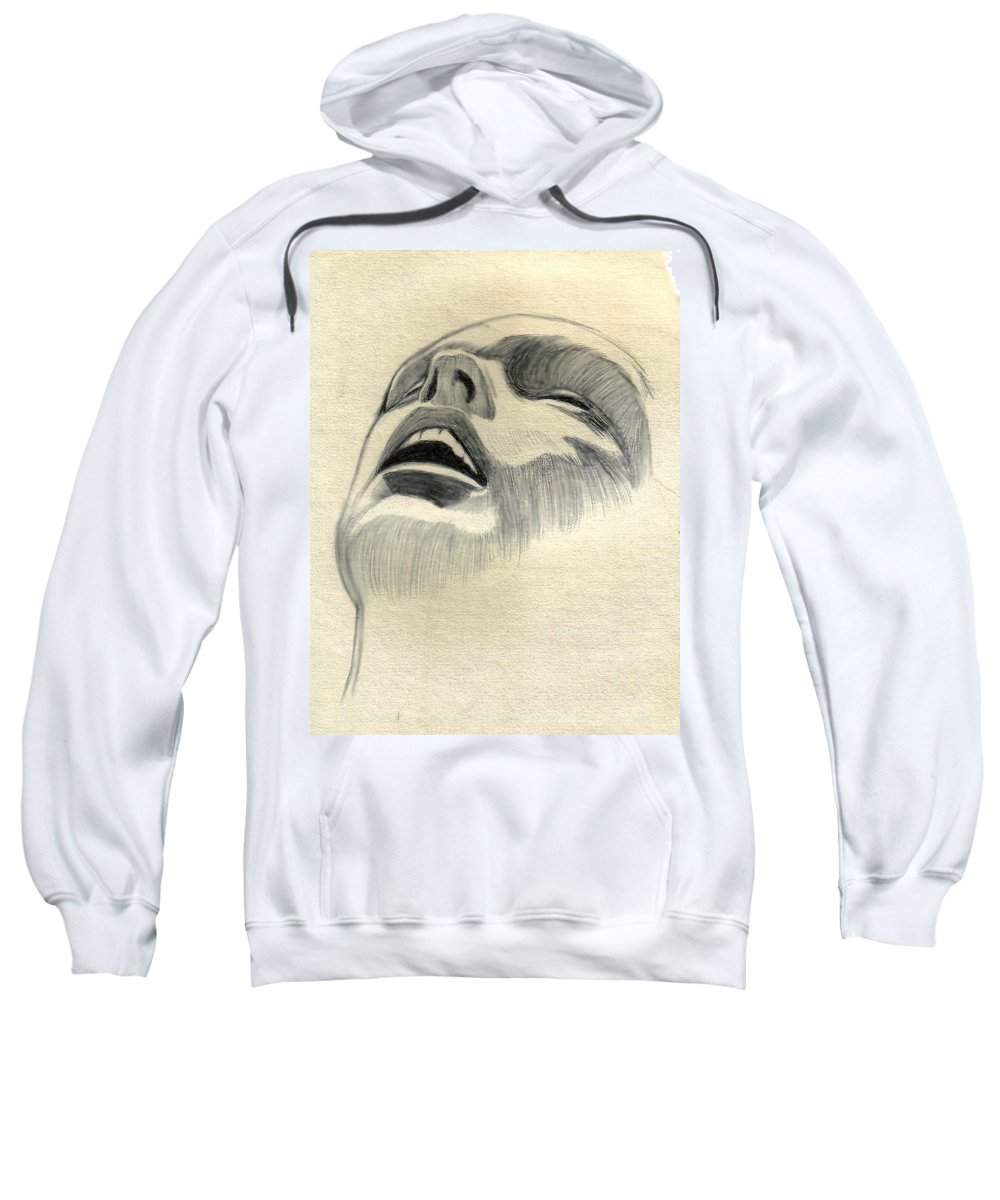 Drawing Sweatshirt featuring the drawing Meditating by Marco Morales